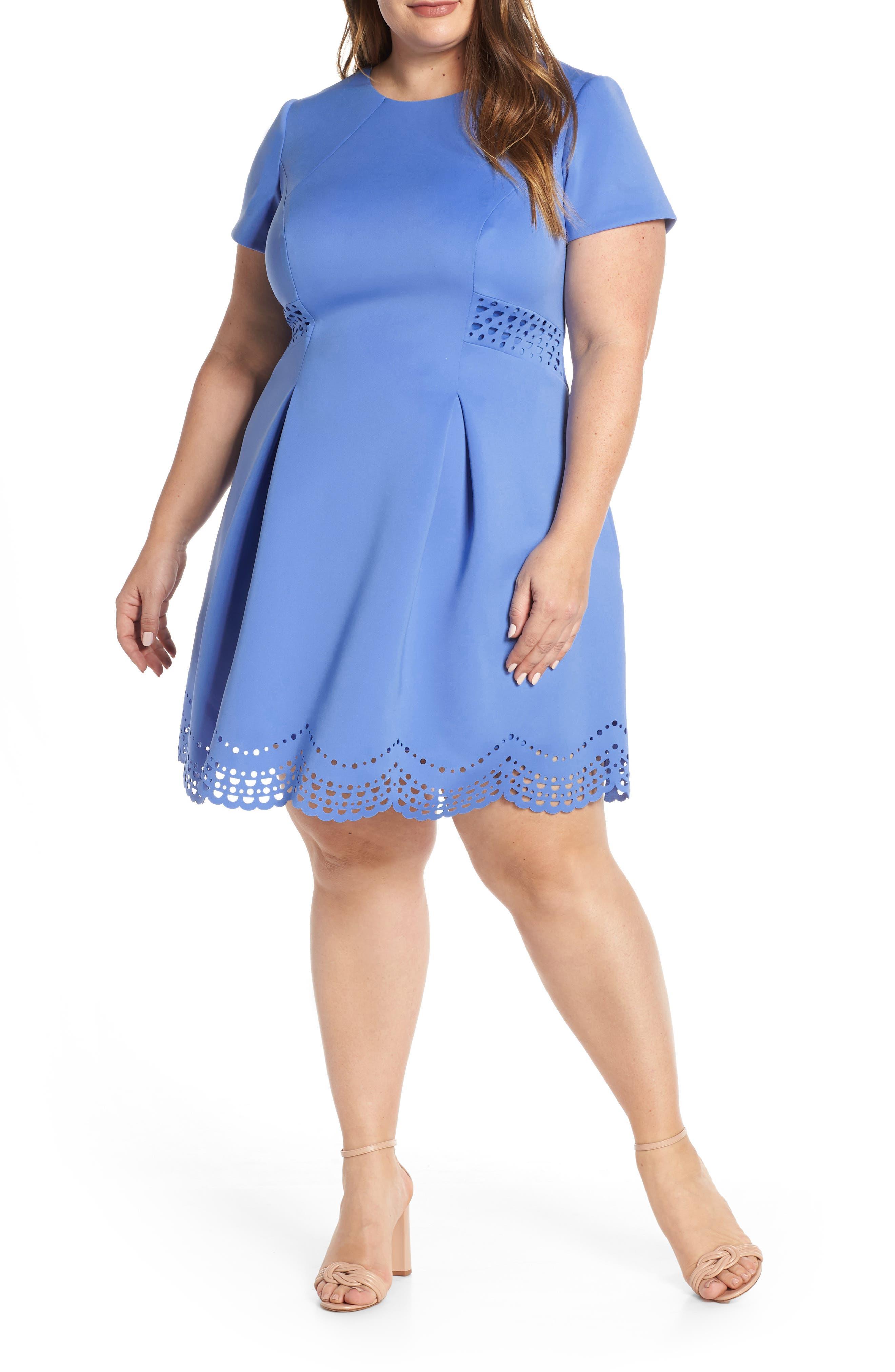 Plus Size Vince Camuto Laser Cut Scuba Crepe Fit & Flare Dress, Blue