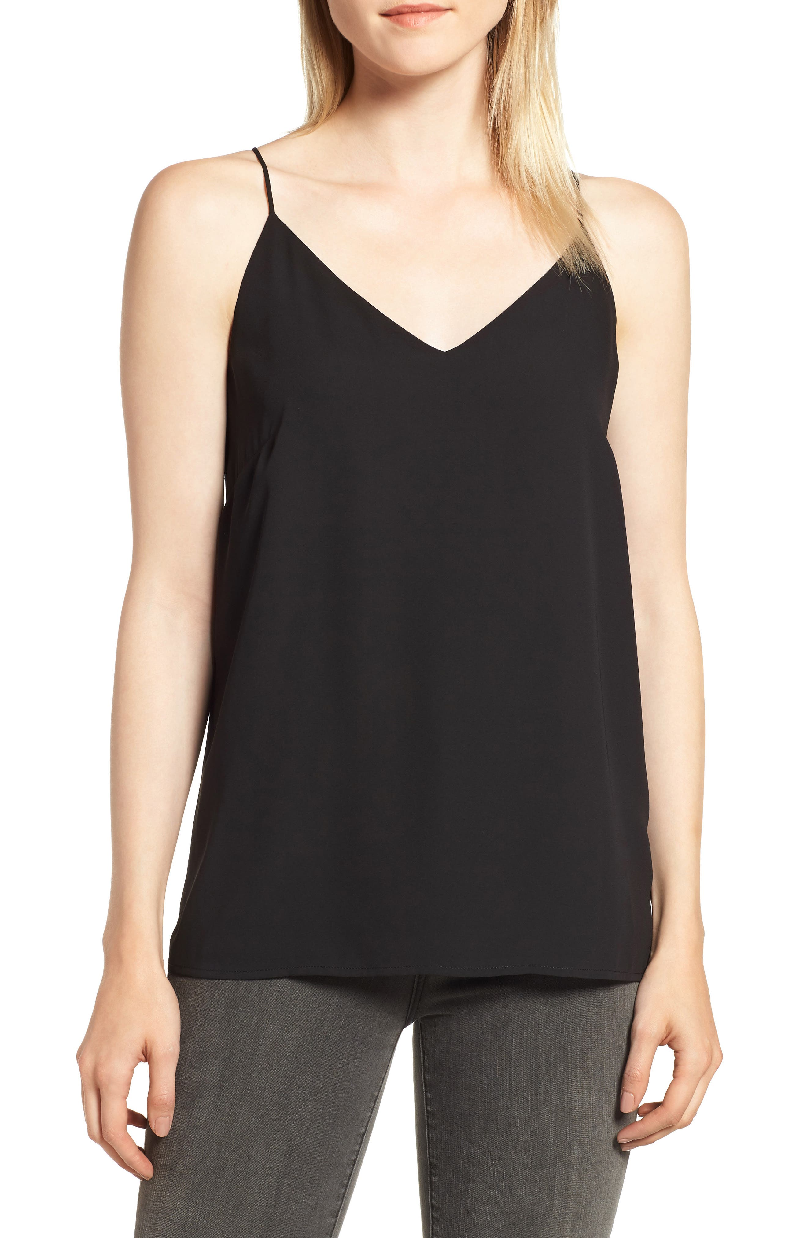 Strappy Tank,                         Main,                         color, BLACK