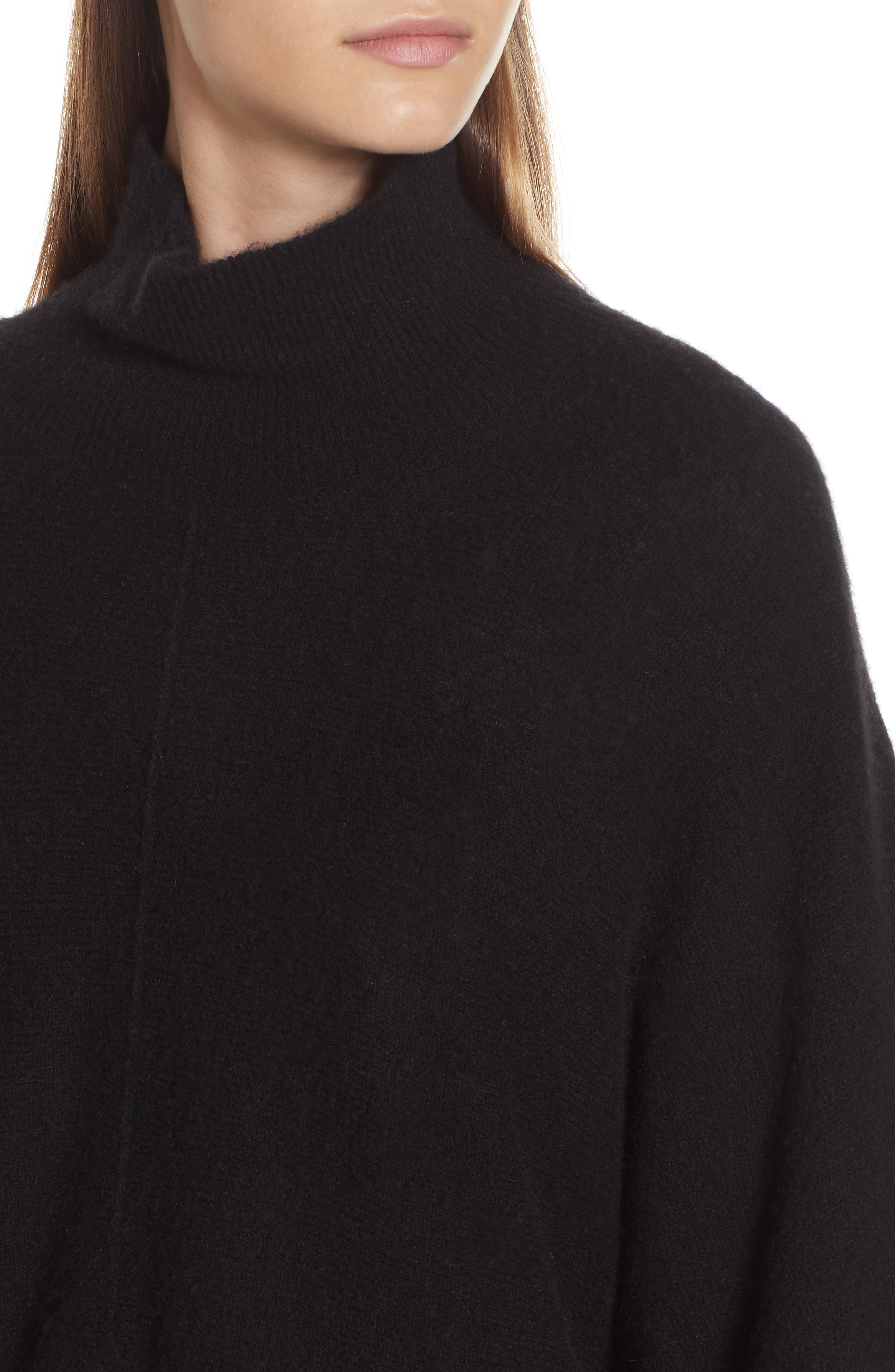 Crop Poncho Sweater,                             Alternate thumbnail 4, color,                             BLACK