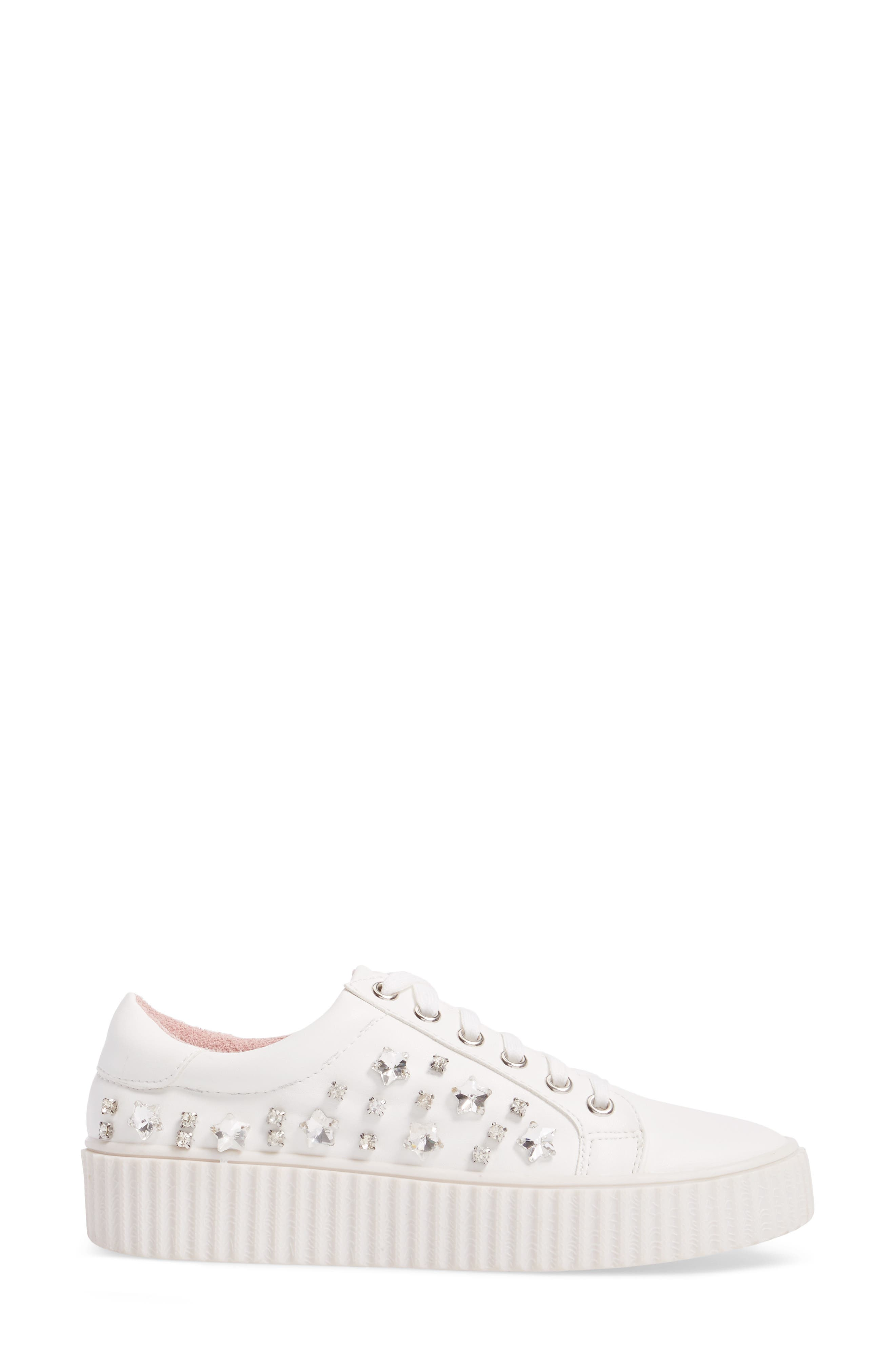 Pam Embellished Platform Sneaker,                             Alternate thumbnail 3, color,                             WHITE