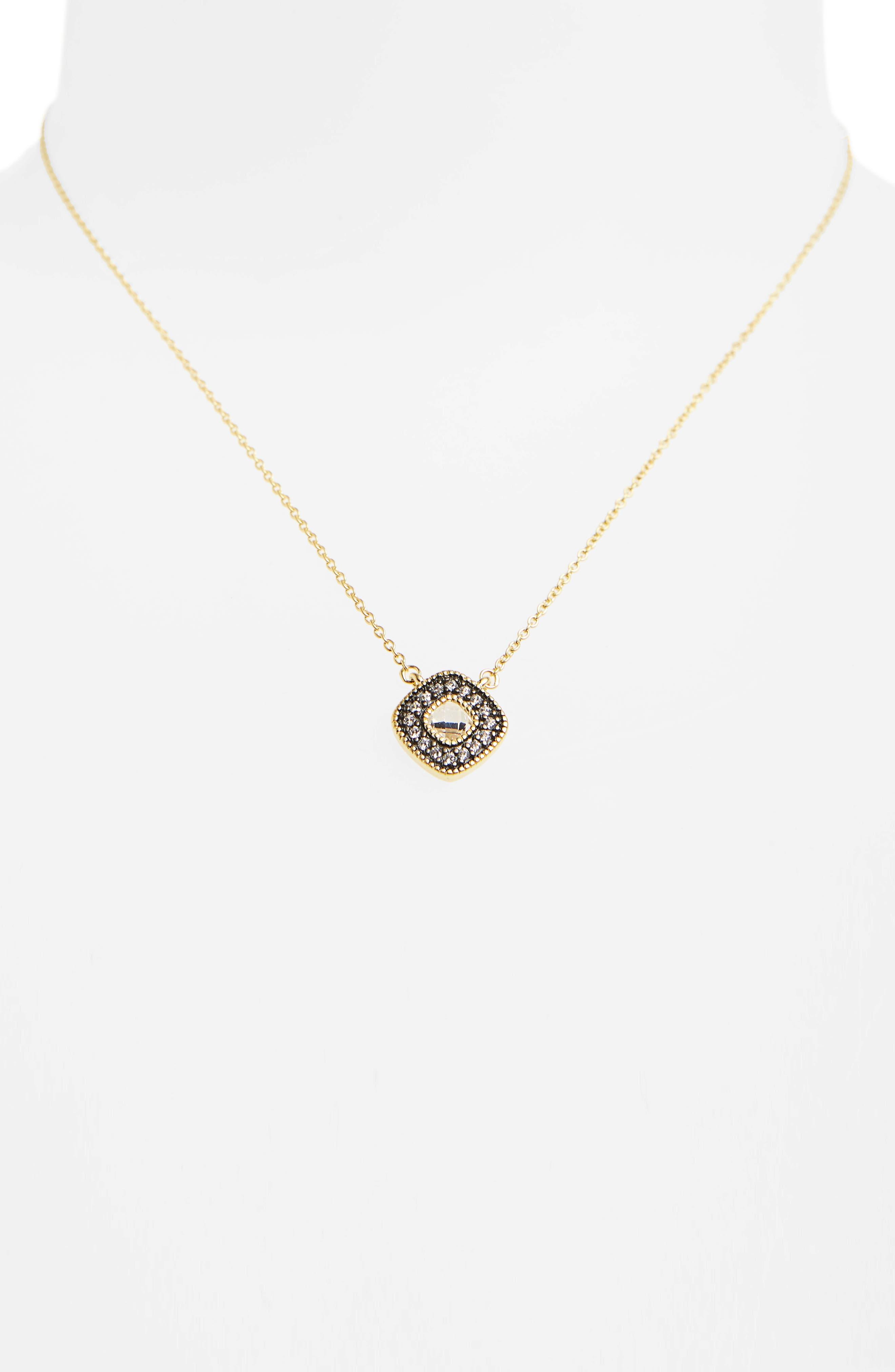 Single Stone Pendant Necklace,                             Alternate thumbnail 2, color,                             GOLD/ BLACK