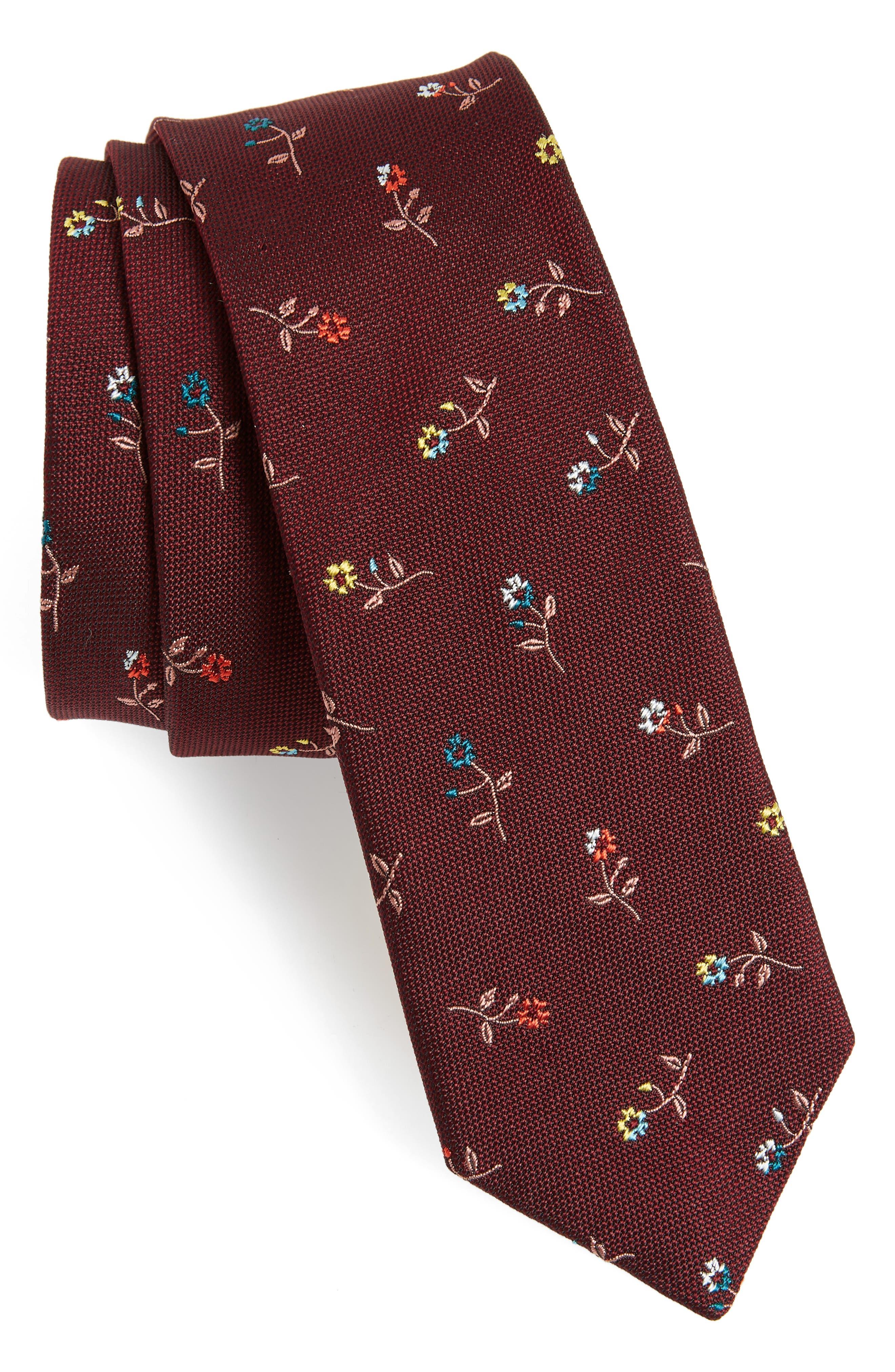 Classic Flower Silk Skinny Tie,                             Main thumbnail 1, color,                             BURGUNDY