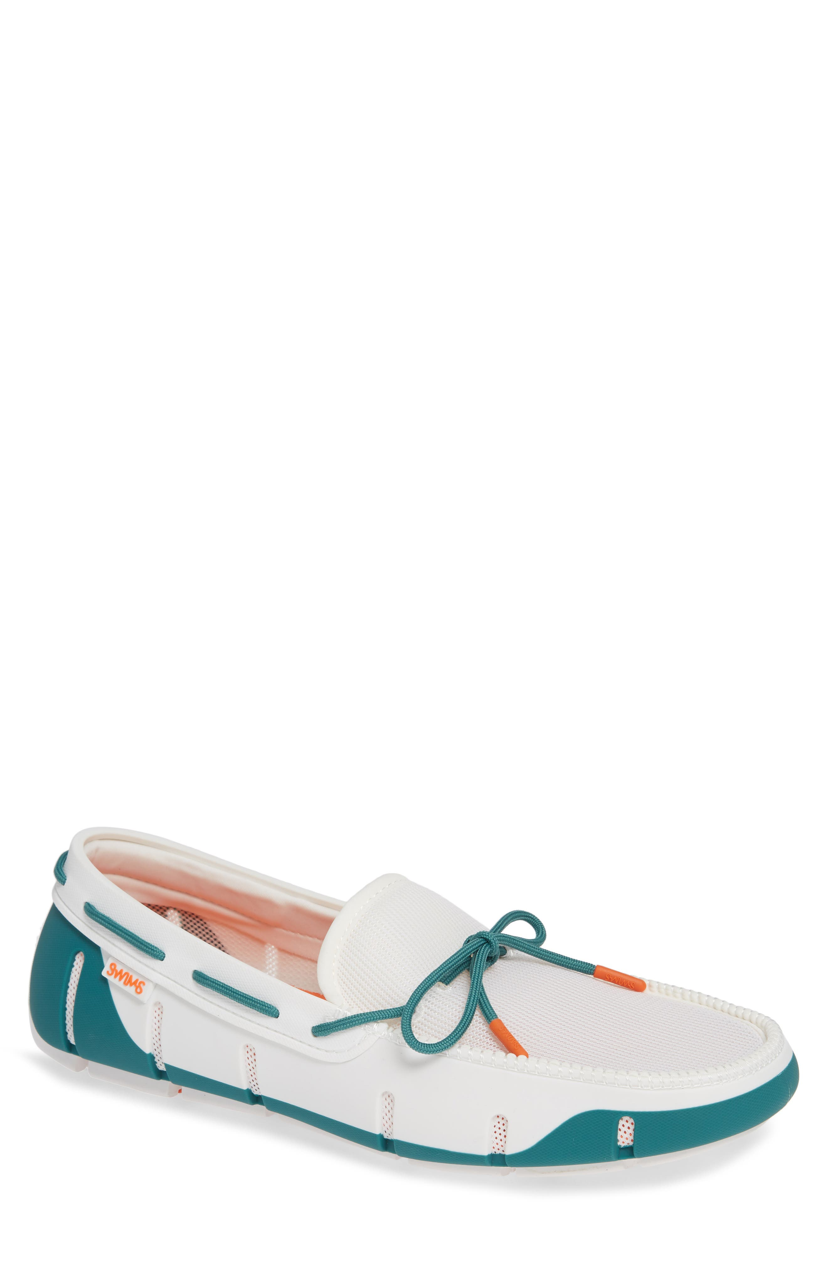 Stride Lace Loafer,                             Main thumbnail 1, color,                             WHITE/ TEAL