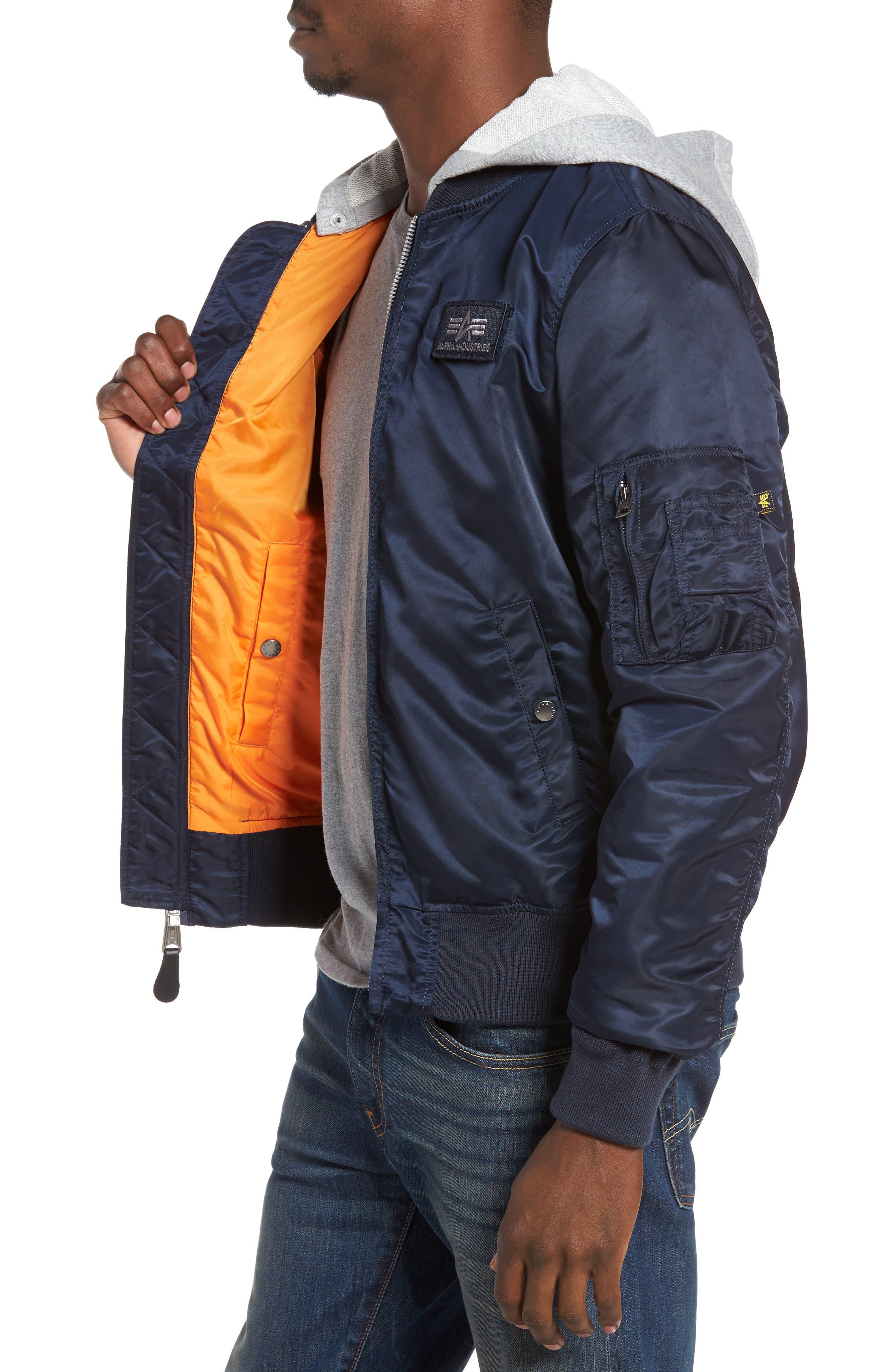 Lightweight L2-B Flight Jacket with Knit Hood,                             Alternate thumbnail 12, color,
