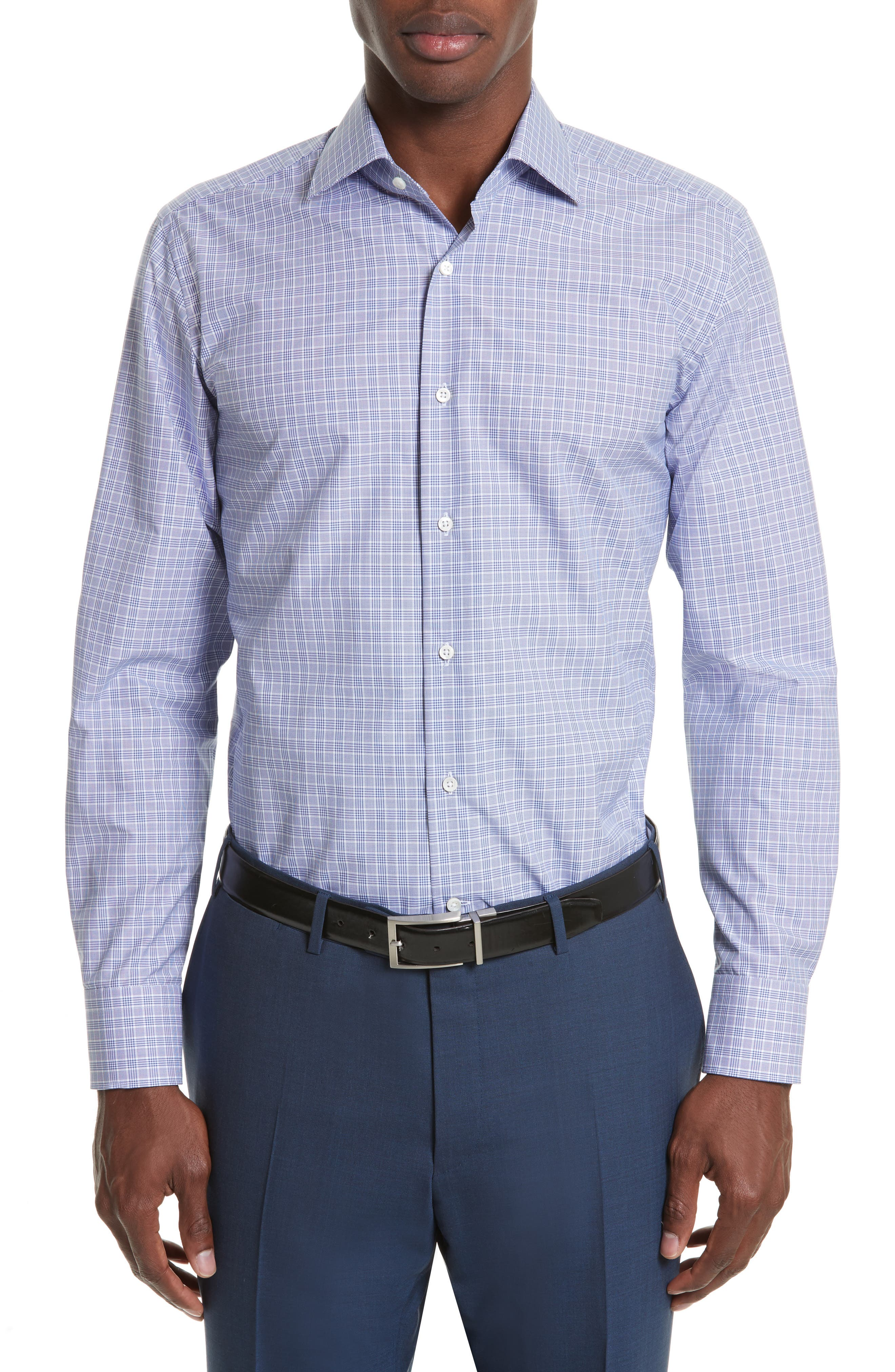 Regular Fit Plaid Dress Shirt,                             Main thumbnail 1, color,                             450