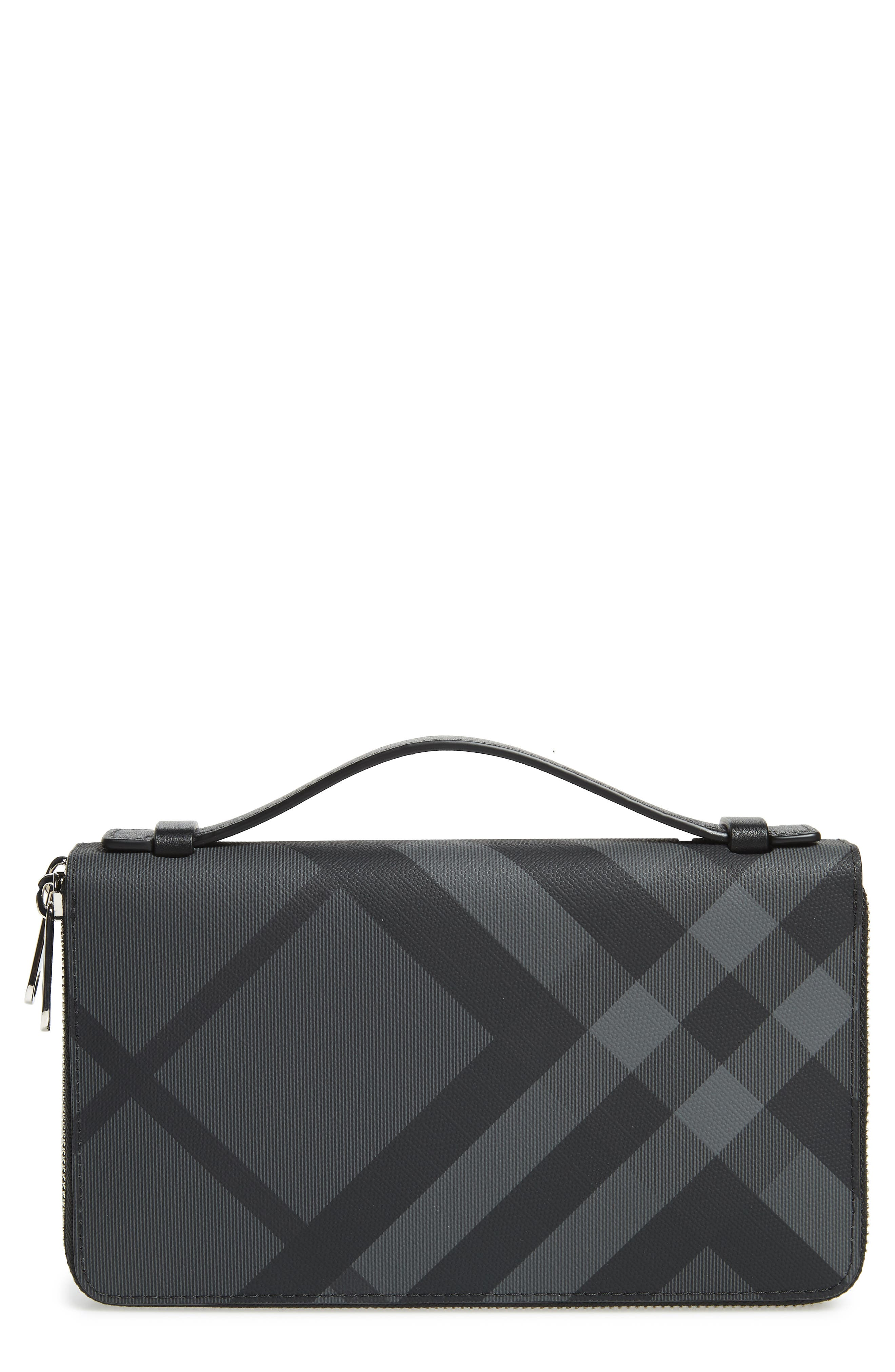 BURBERRY,                             Reeves Zip Wallet,                             Main thumbnail 1, color,                             CHARCOAL BLACK