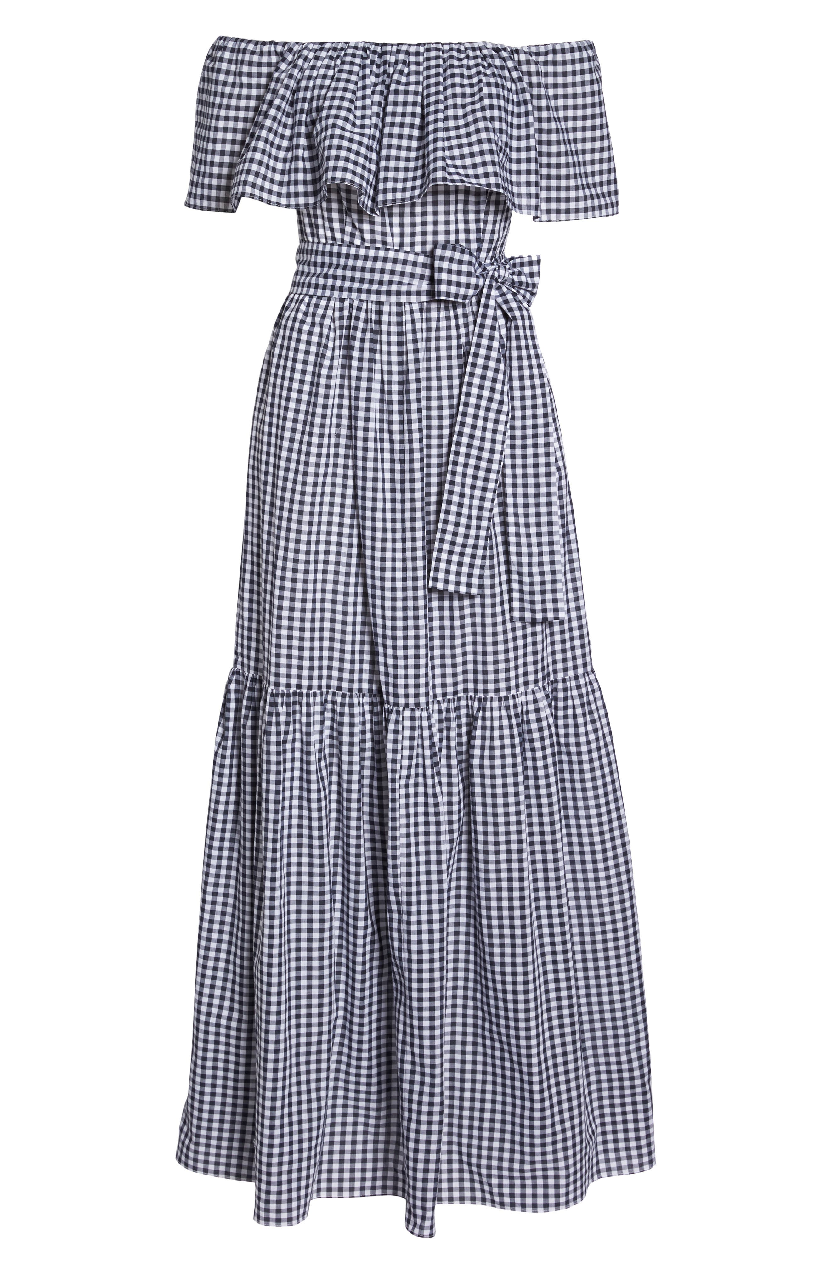 Off the Shoulder Ruffle Gingham Maxi Dress,                             Alternate thumbnail 7, color,                             410