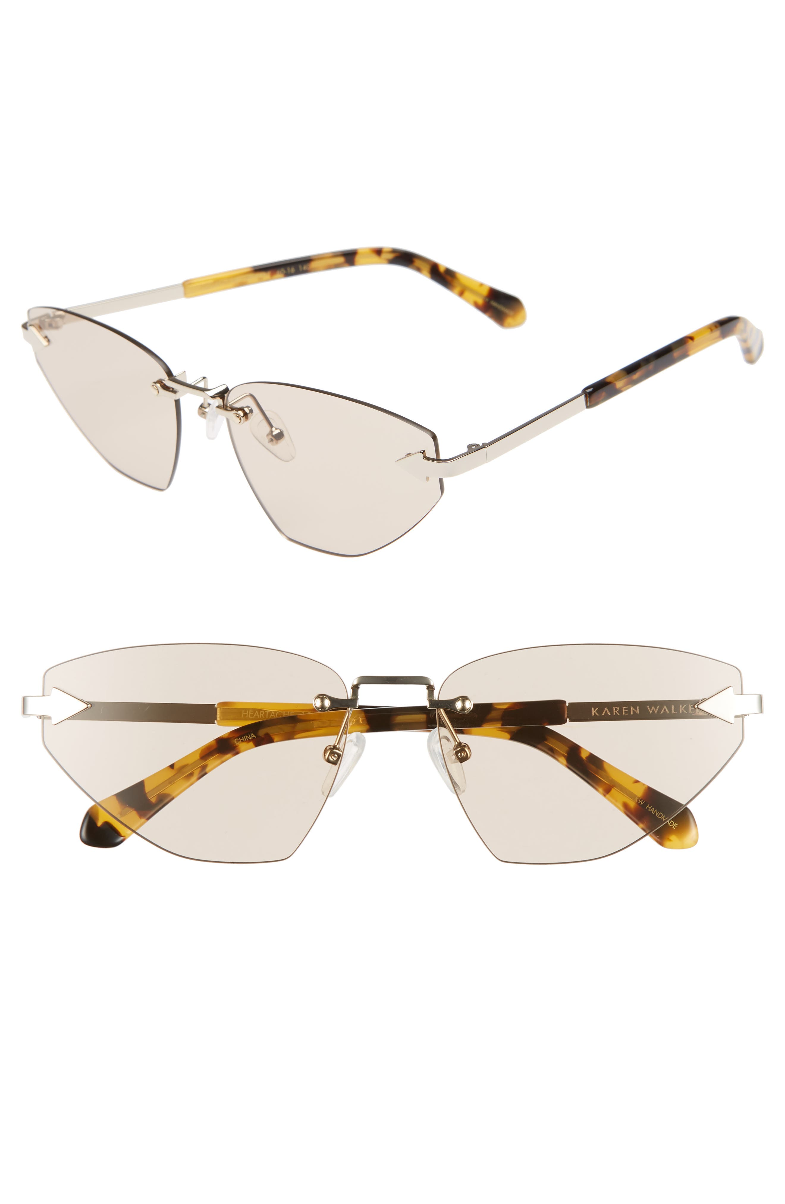Heartache 60mm Cat Eye Sunglasses,                             Main thumbnail 1, color,                             GOLD/ TORTOISE