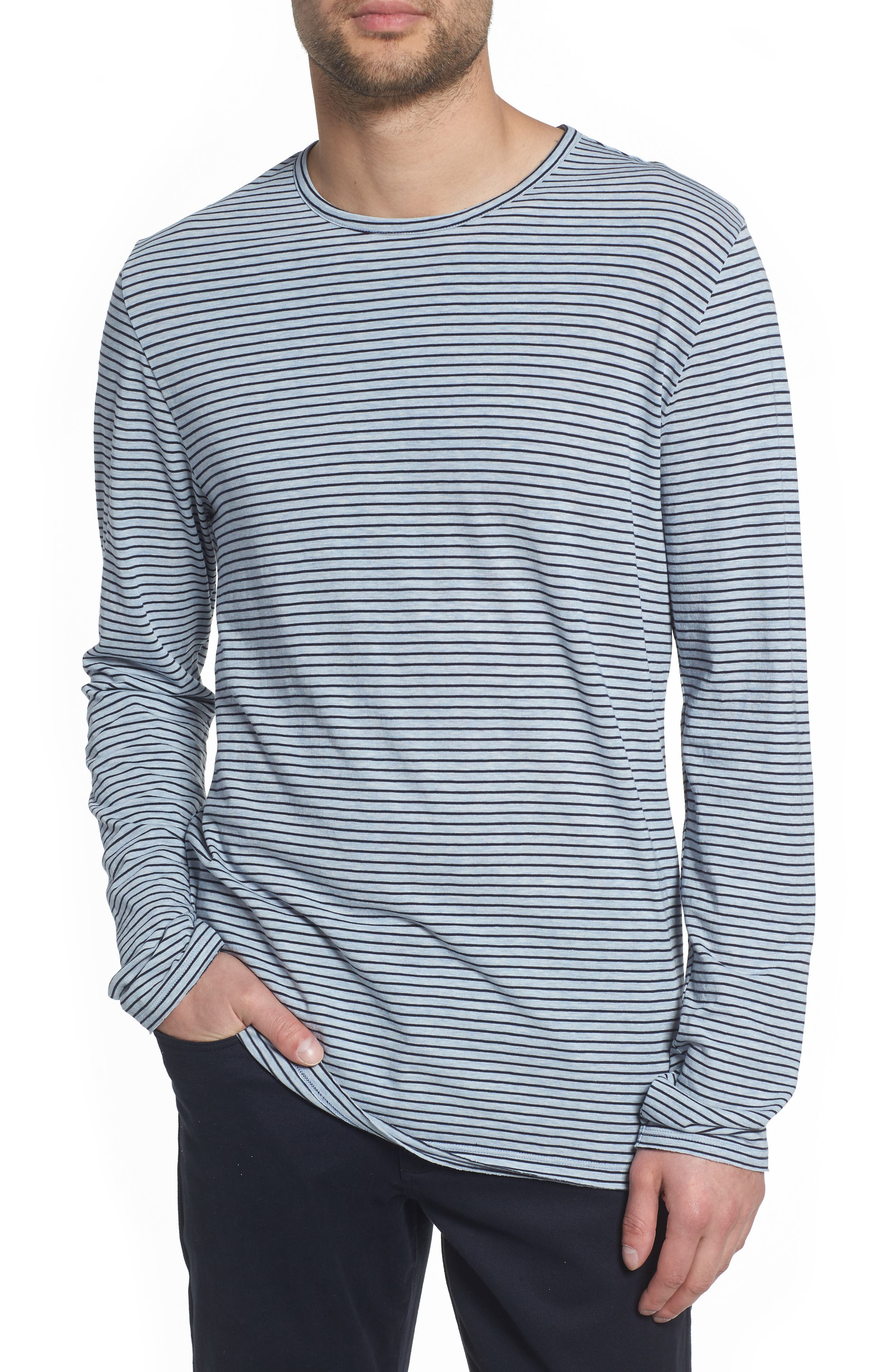 Stripe Long Sleeve Crewneck T-Shirt,                             Main thumbnail 1, color,                             H ARCTIC/ NEW COASTAL