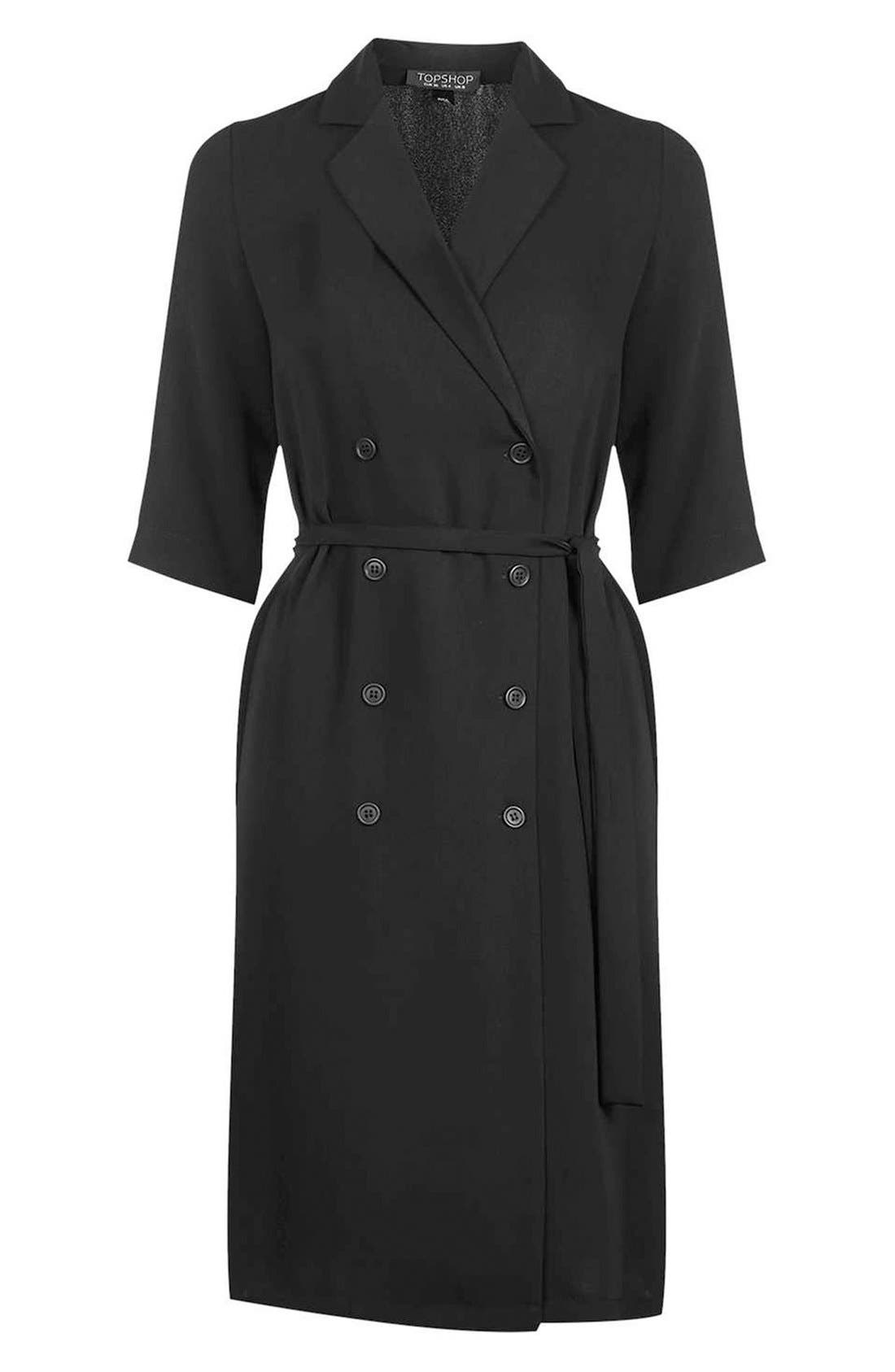 Double Breasted Wrap Midi Dress,                             Alternate thumbnail 3, color,                             001