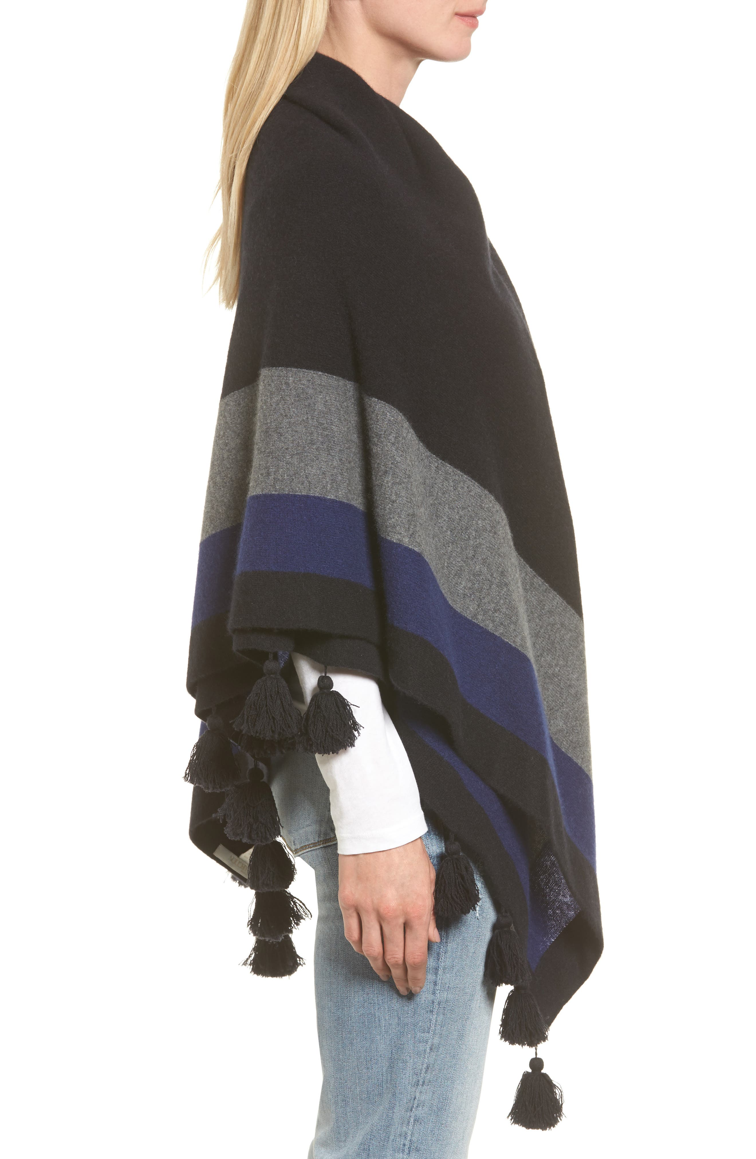Tassel Trim Cashmere Wrap,                             Alternate thumbnail 3, color,                             001
