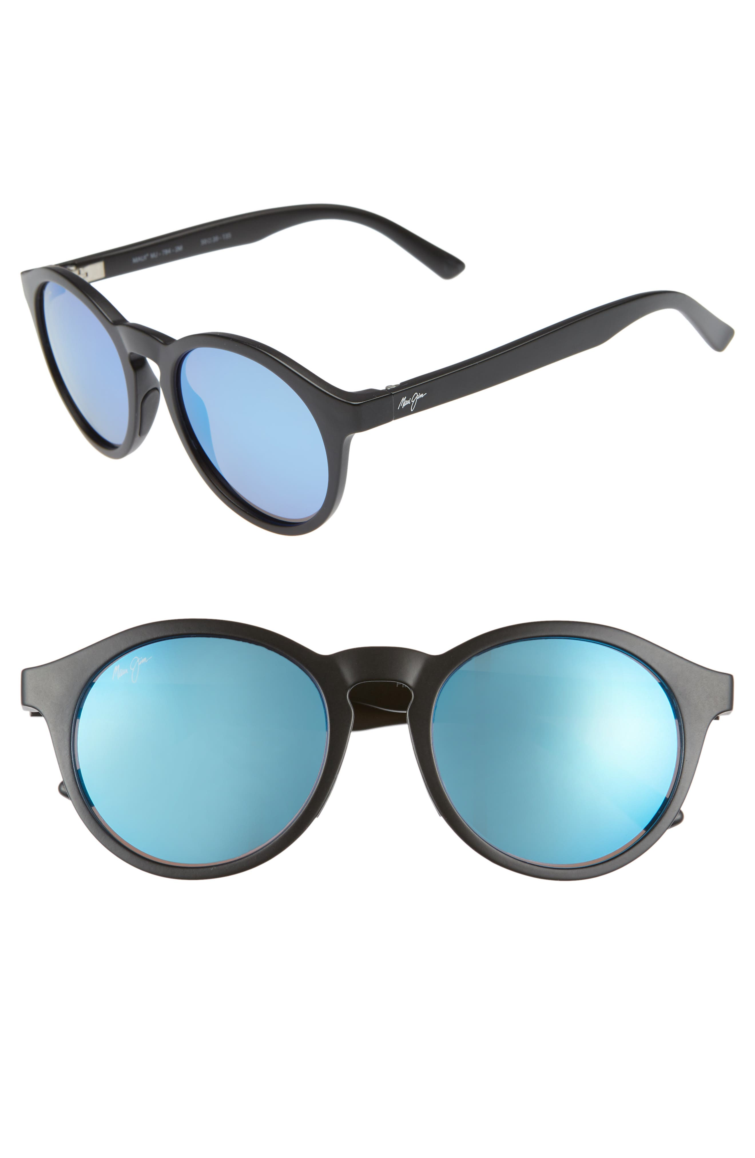 Pineapple 50Mm Polarized Round Sunglasses - Matte Black