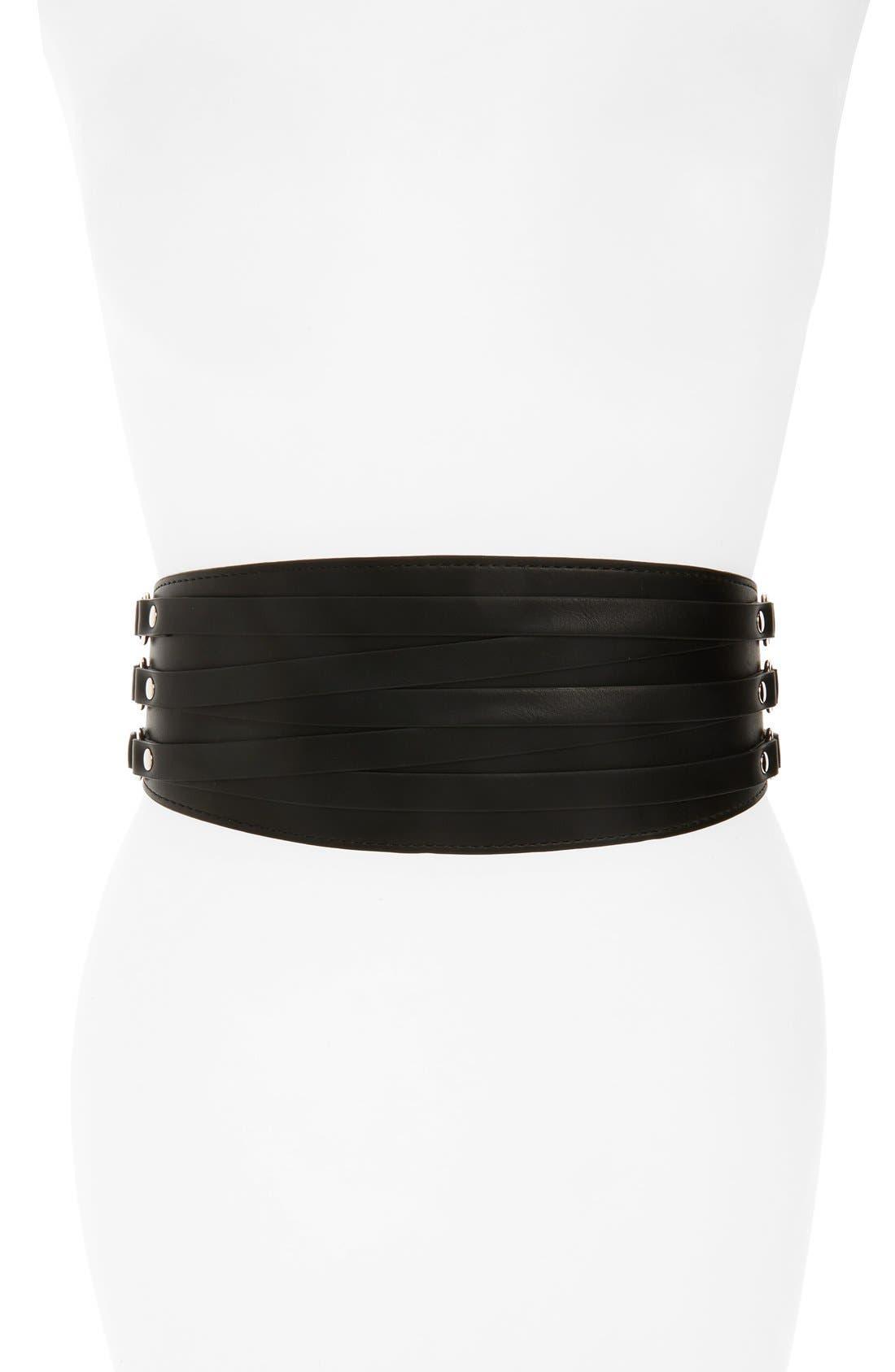 Wide Faux Leather Belt,                         Main,                         color, 001