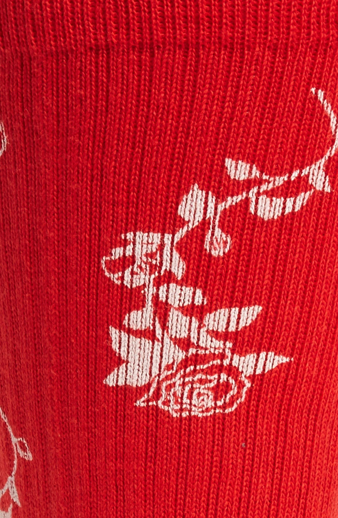 Rossa Floral Socks,                             Alternate thumbnail 2, color,                             RED