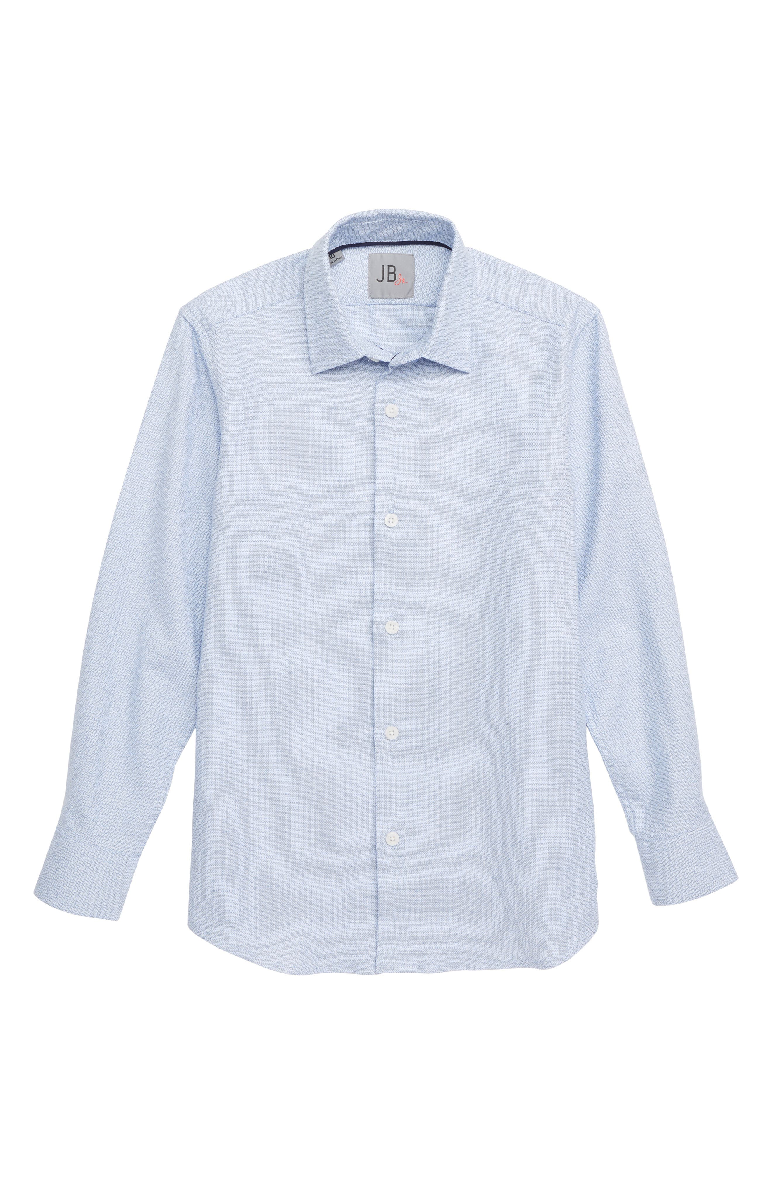 Tile Pattern Dress Shirt,                             Main thumbnail 1, color,                             BLUE