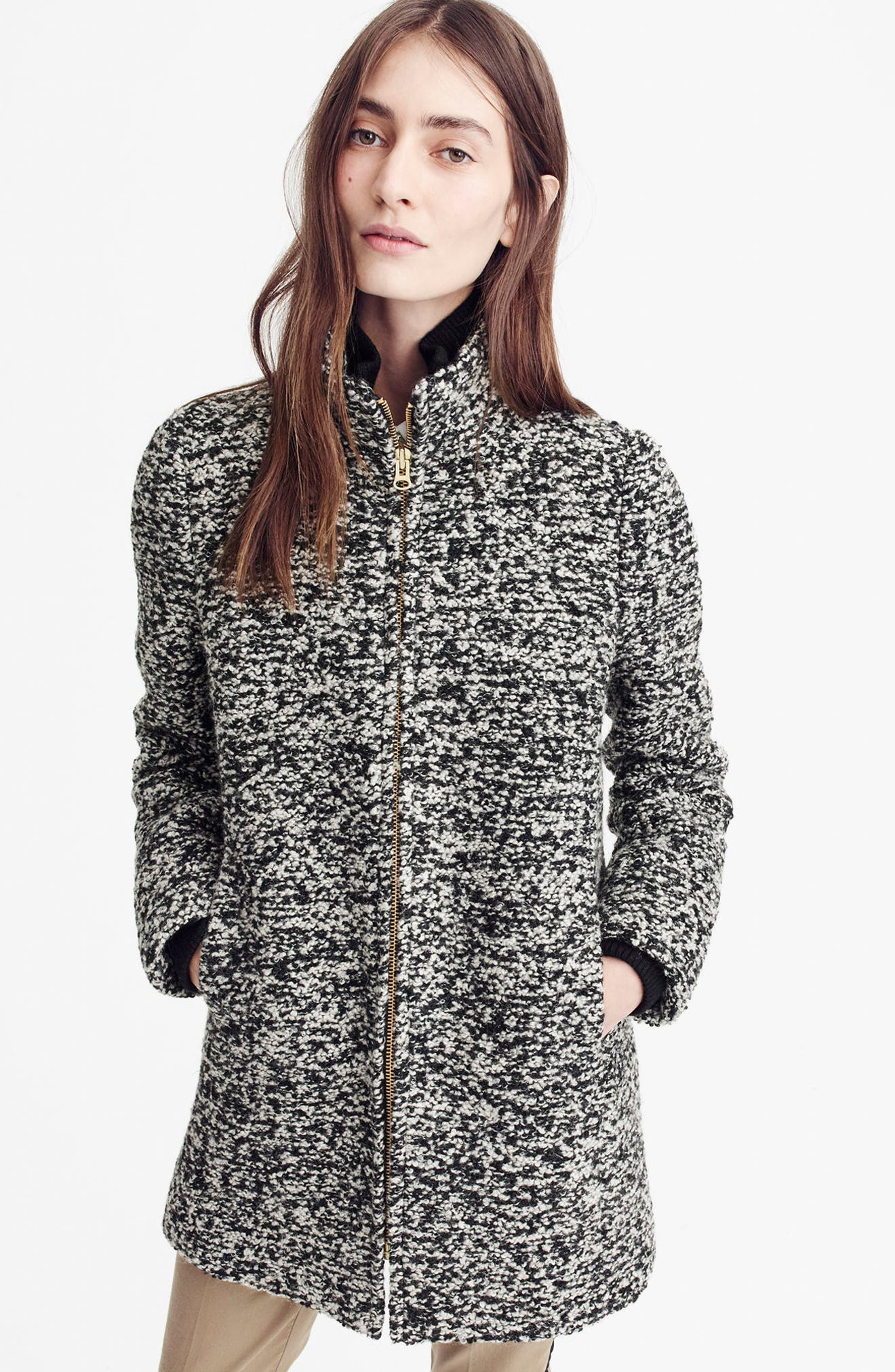 Yulia Wool Blend Coat,                             Alternate thumbnail 4, color,                             009