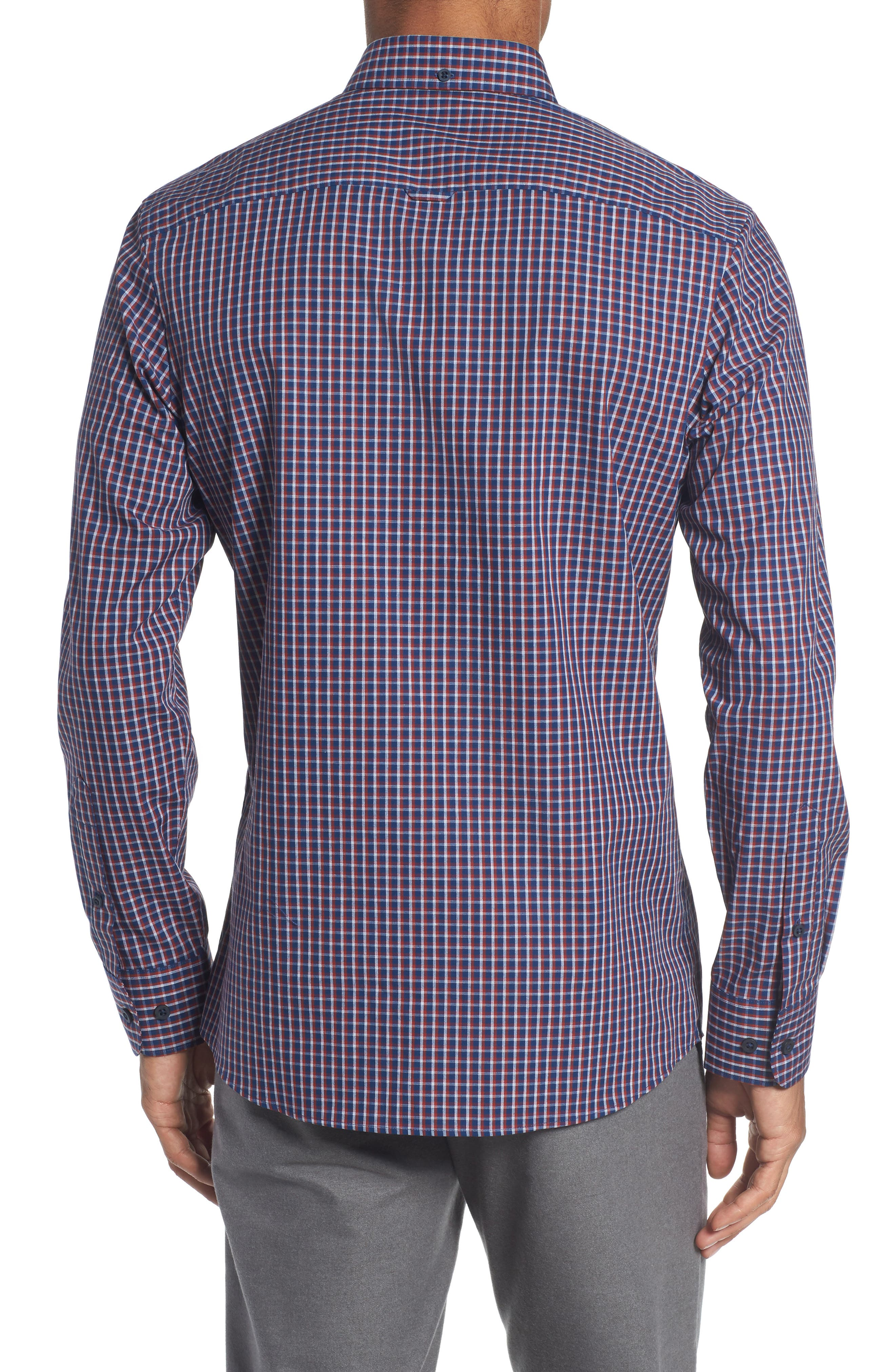 Slim Fit Non-Iron Mini Check Sport Shirt,                             Alternate thumbnail 2, color,                             420
