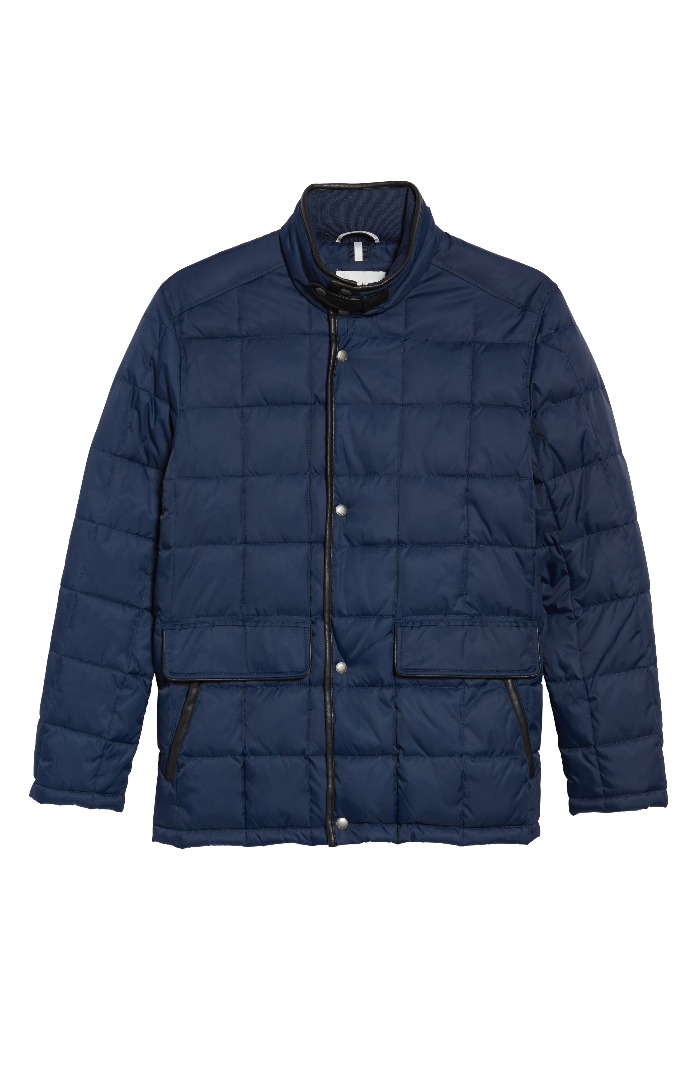 Box Quilted Jacket,                             Alternate thumbnail 5, color,                             NAVY