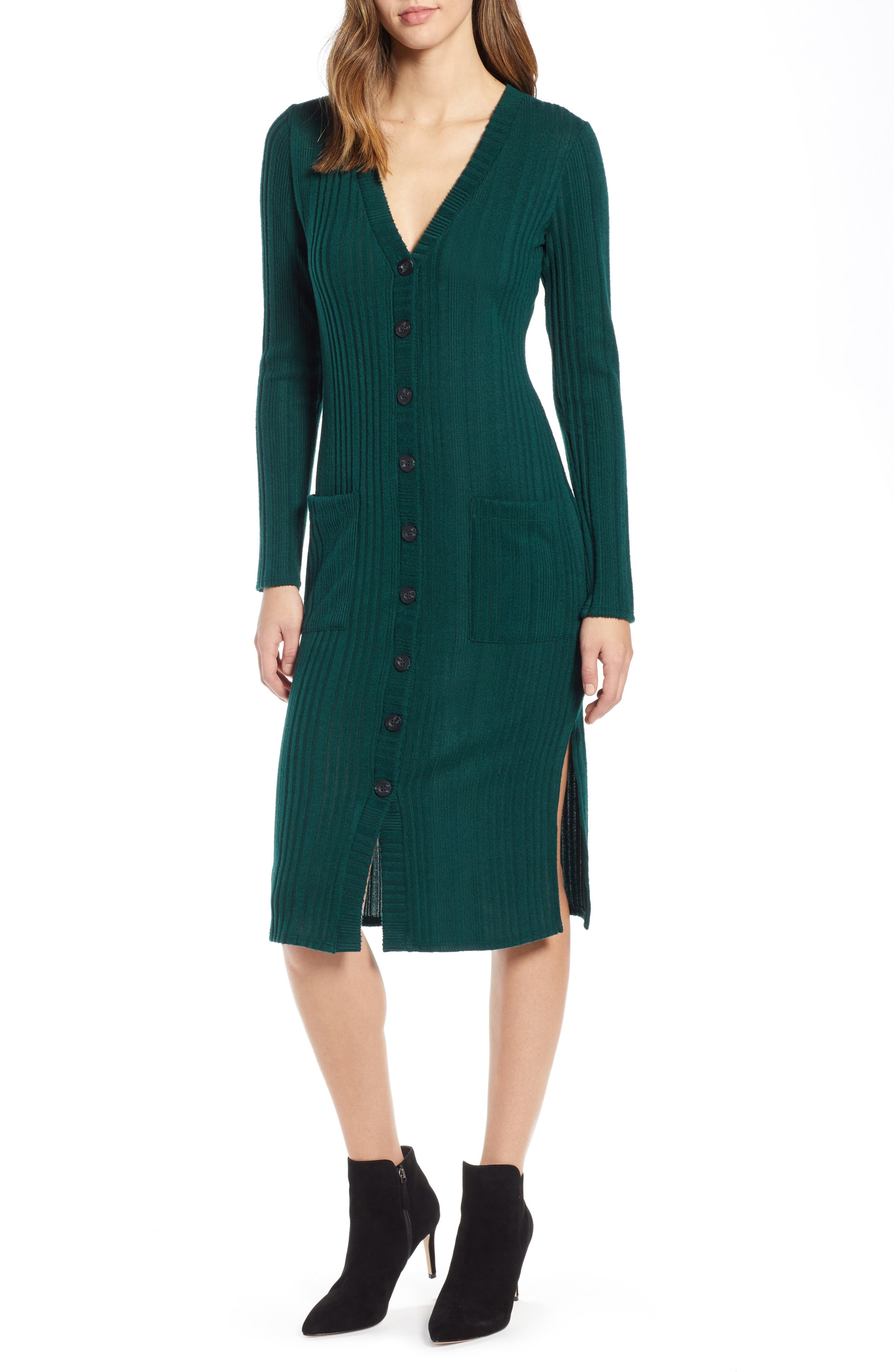 Socialite Sweater Dress, Green