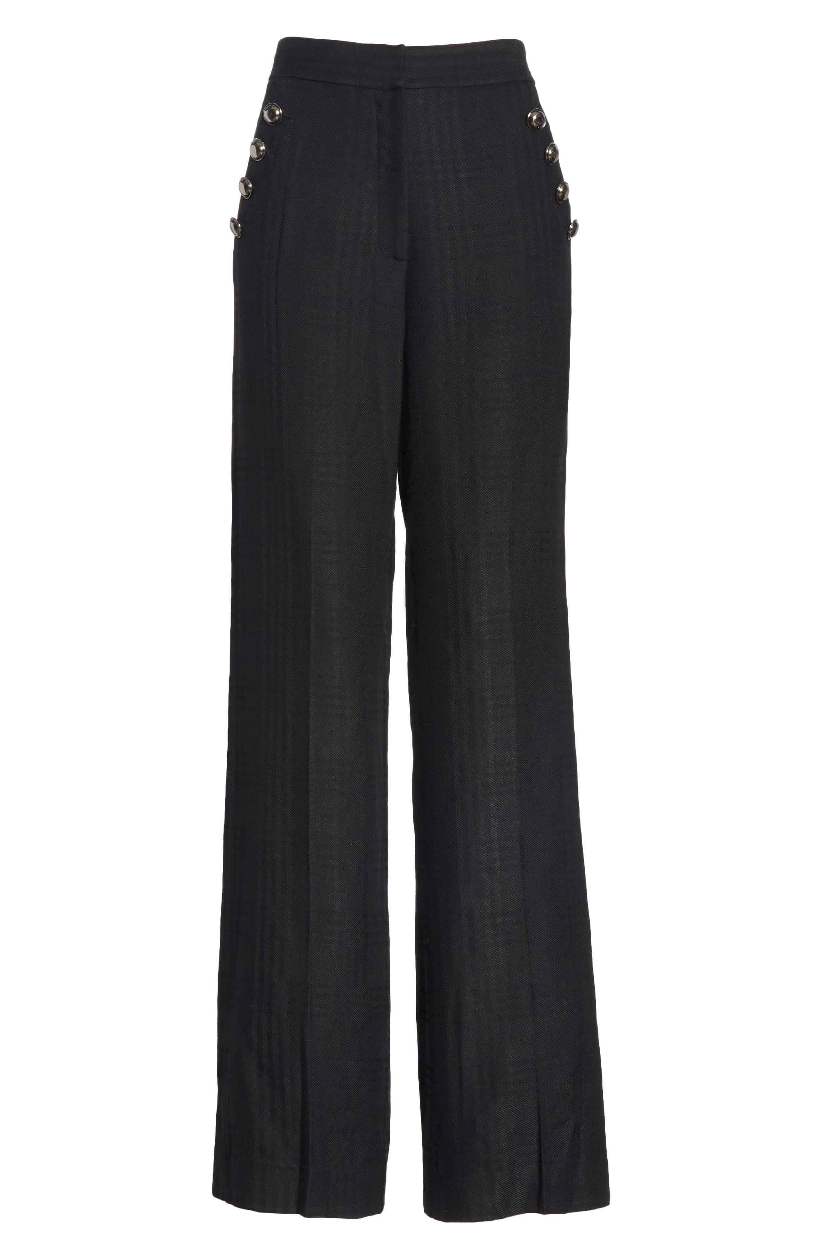 Tuli Check Button Detail Pants,                             Alternate thumbnail 6, color,                             BLACK/ BLACK