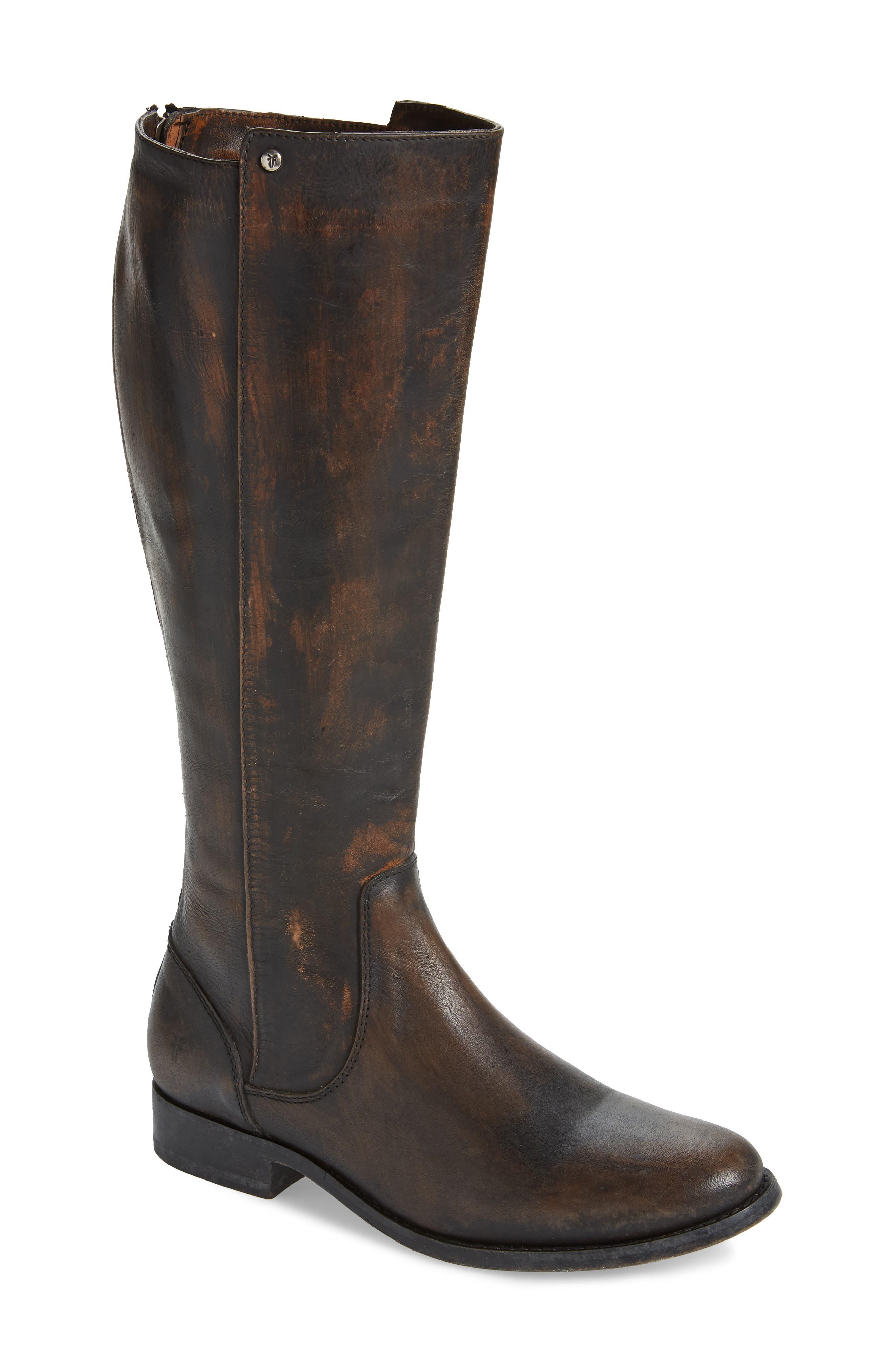 Melissa Stud Knee High Boot, Main, color, BLACK LEATHER