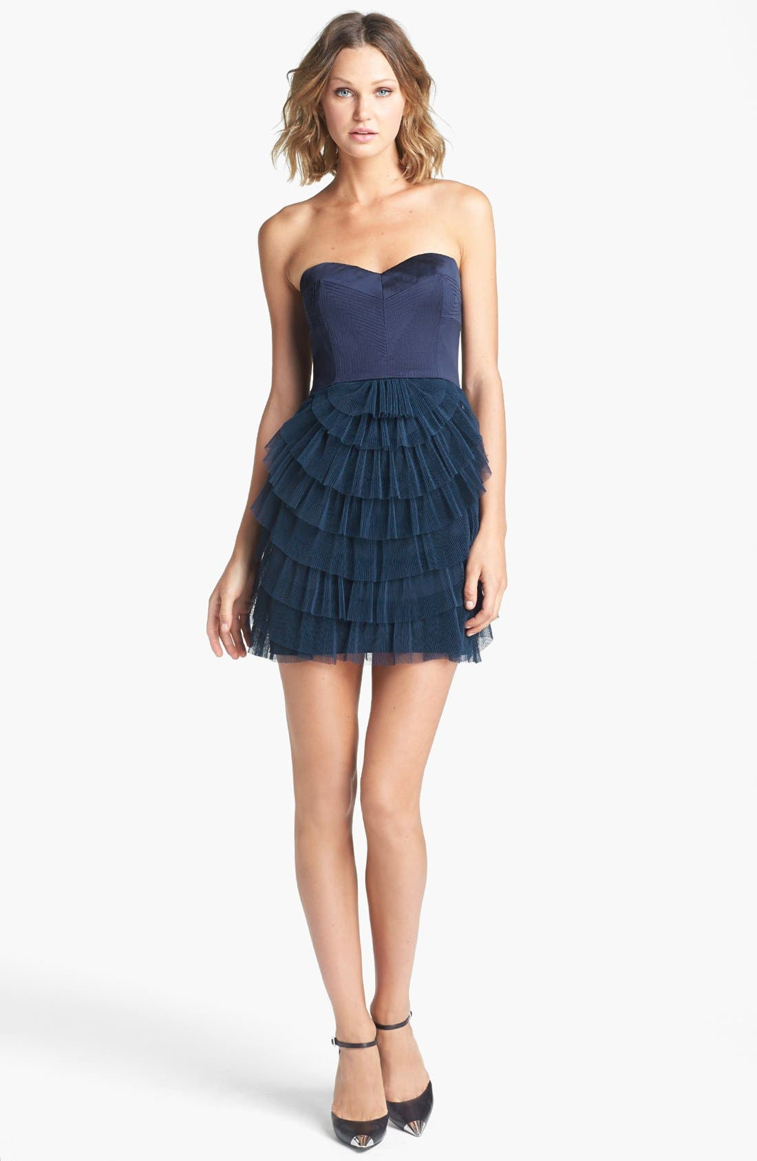 BCBGMAXAZRIA Tiered Mixed Media Fit & Flare Dress, Main, color, 405