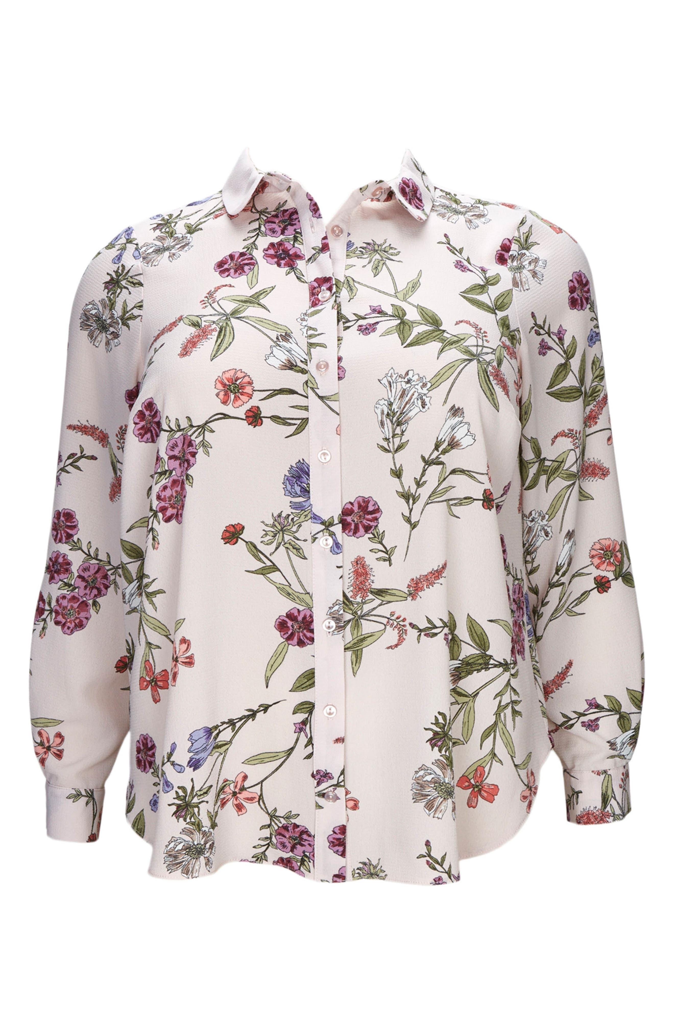 Blush Floral Print Shirt,                             Alternate thumbnail 3, color,                             DARK MULTI