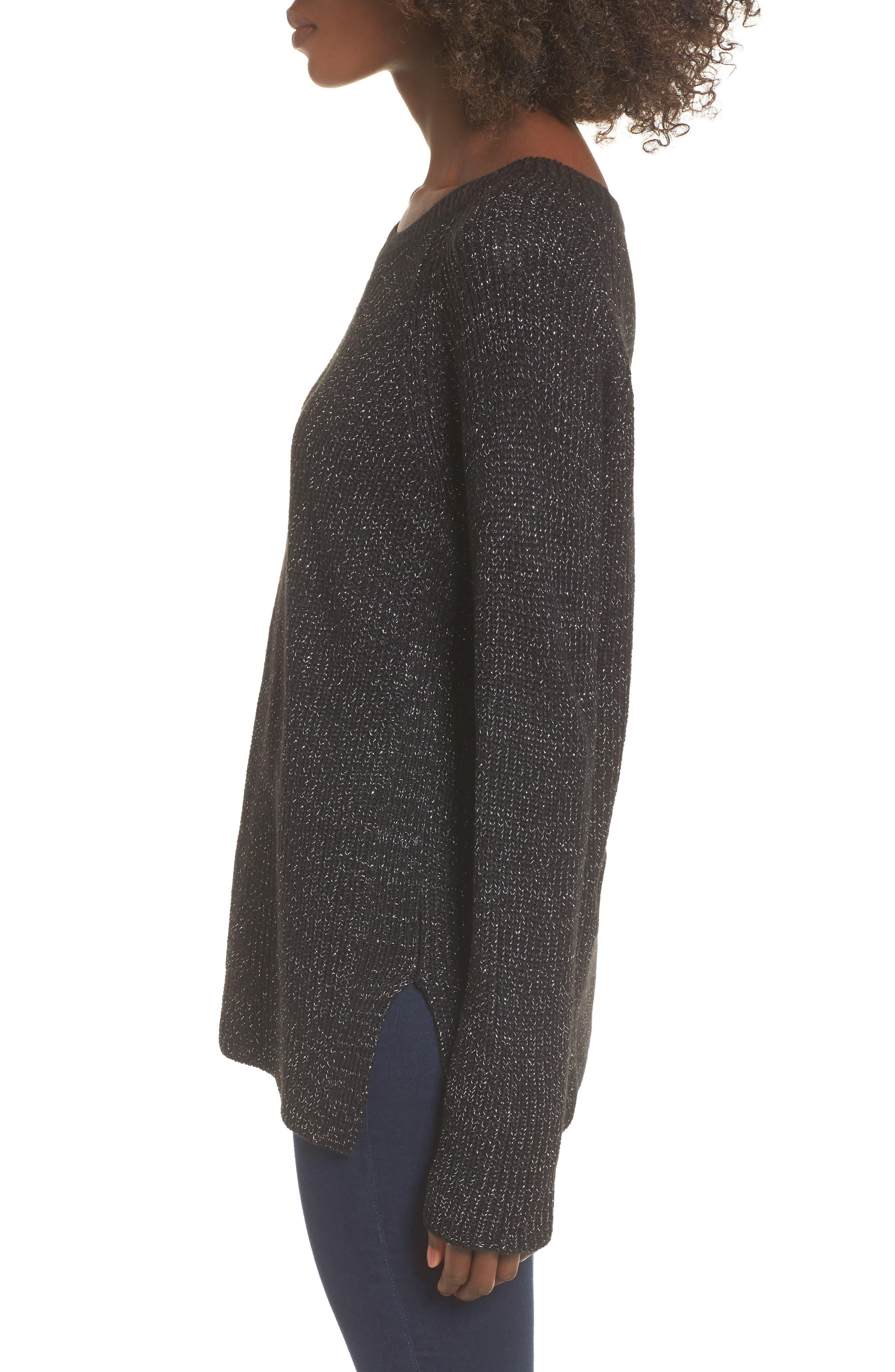 Sparkle Knit Sweater,                             Alternate thumbnail 3, color,                             001