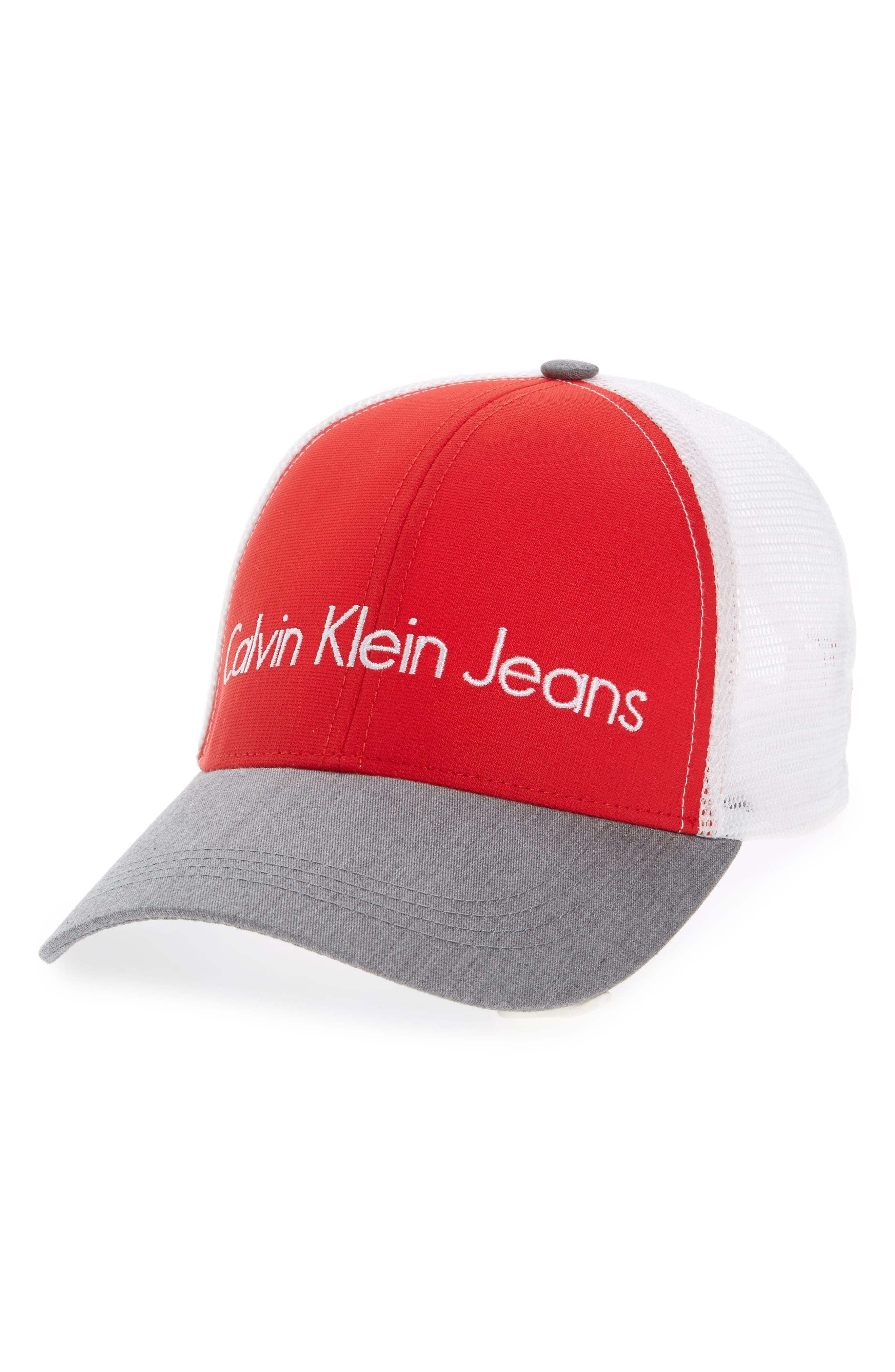 Calvin Klein Logo Trucker Cap,                         Main,                         color, 621