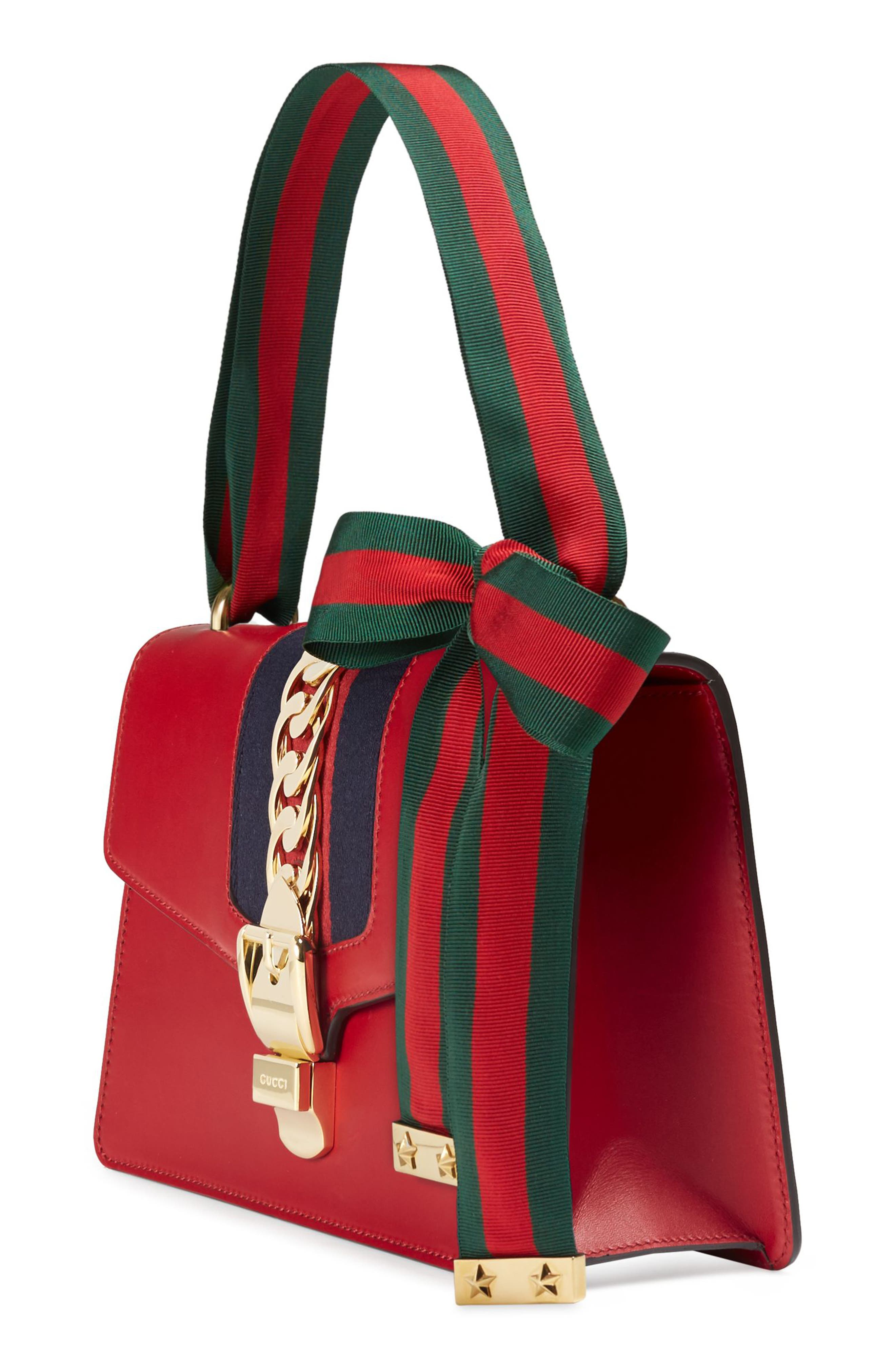 Small Sylvie Leather Shoulder Bag,                             Alternate thumbnail 3, color,                             HIBISCUS RED/ BLUE/ RED