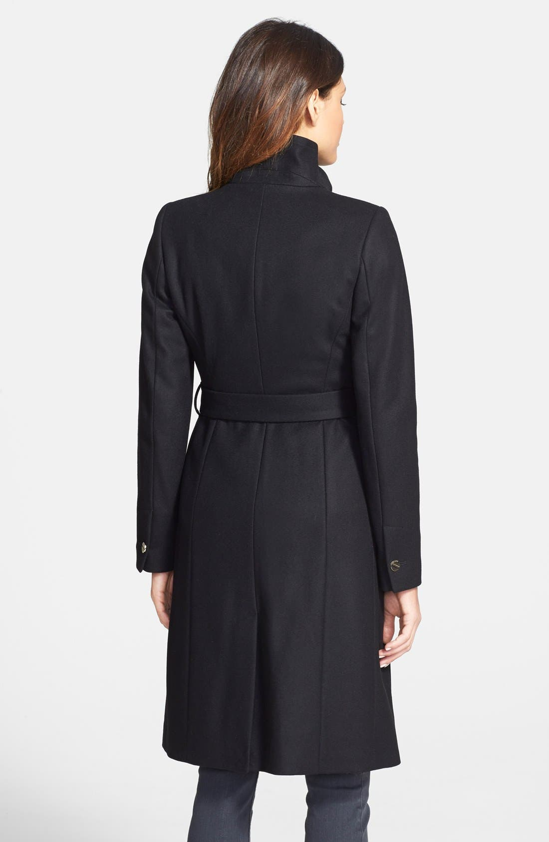 'Nevia' Stand Collar Belted Wrap Coat,                             Alternate thumbnail 3, color,                             001