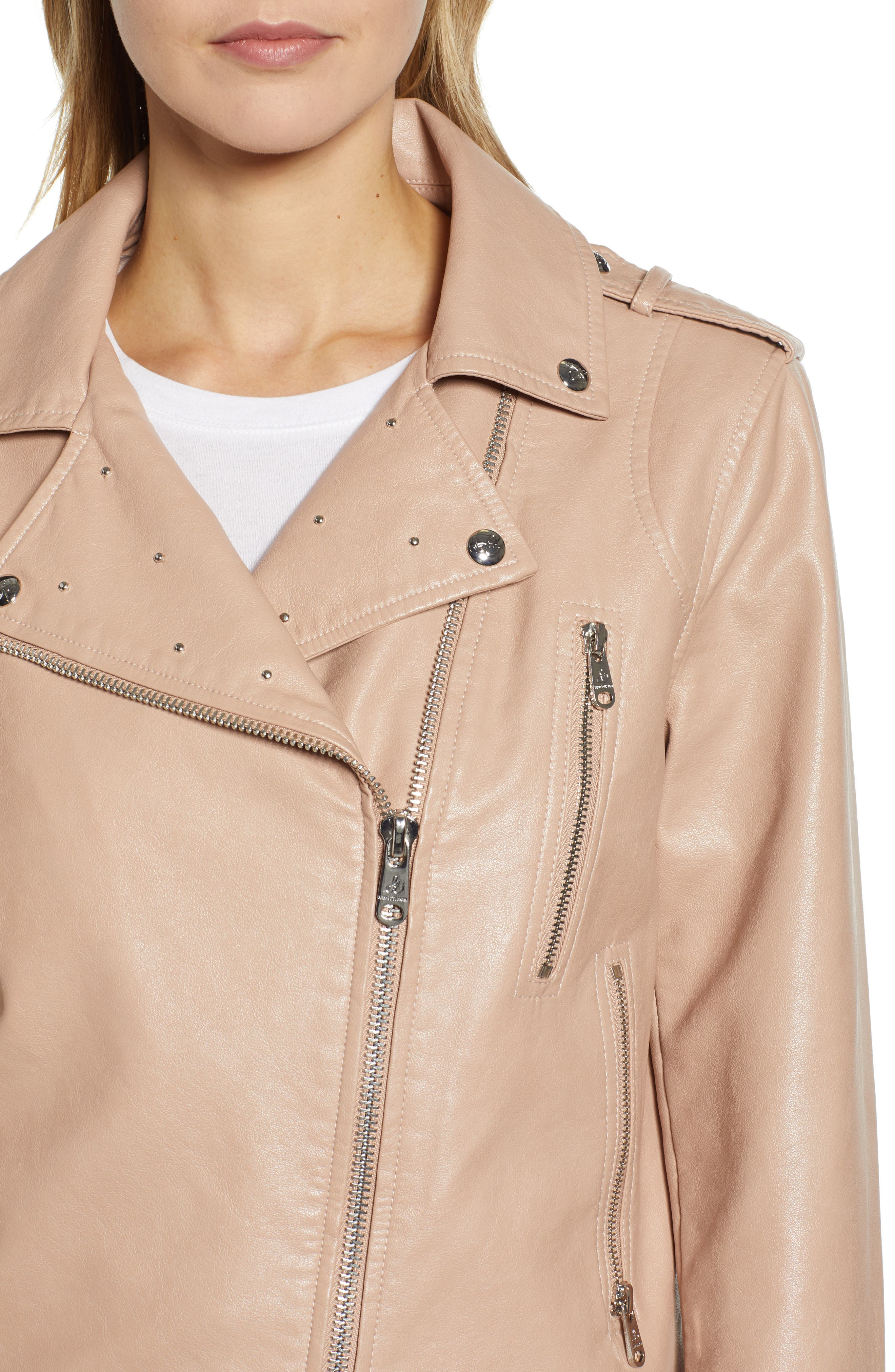 SAM EDELMAN,                             Washed Faux Leather Moto Jacket,                             Alternate thumbnail 4, color,                             NUDE