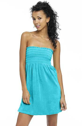 Terry Cloth Smocked Tube Dress, Main, color, BLK