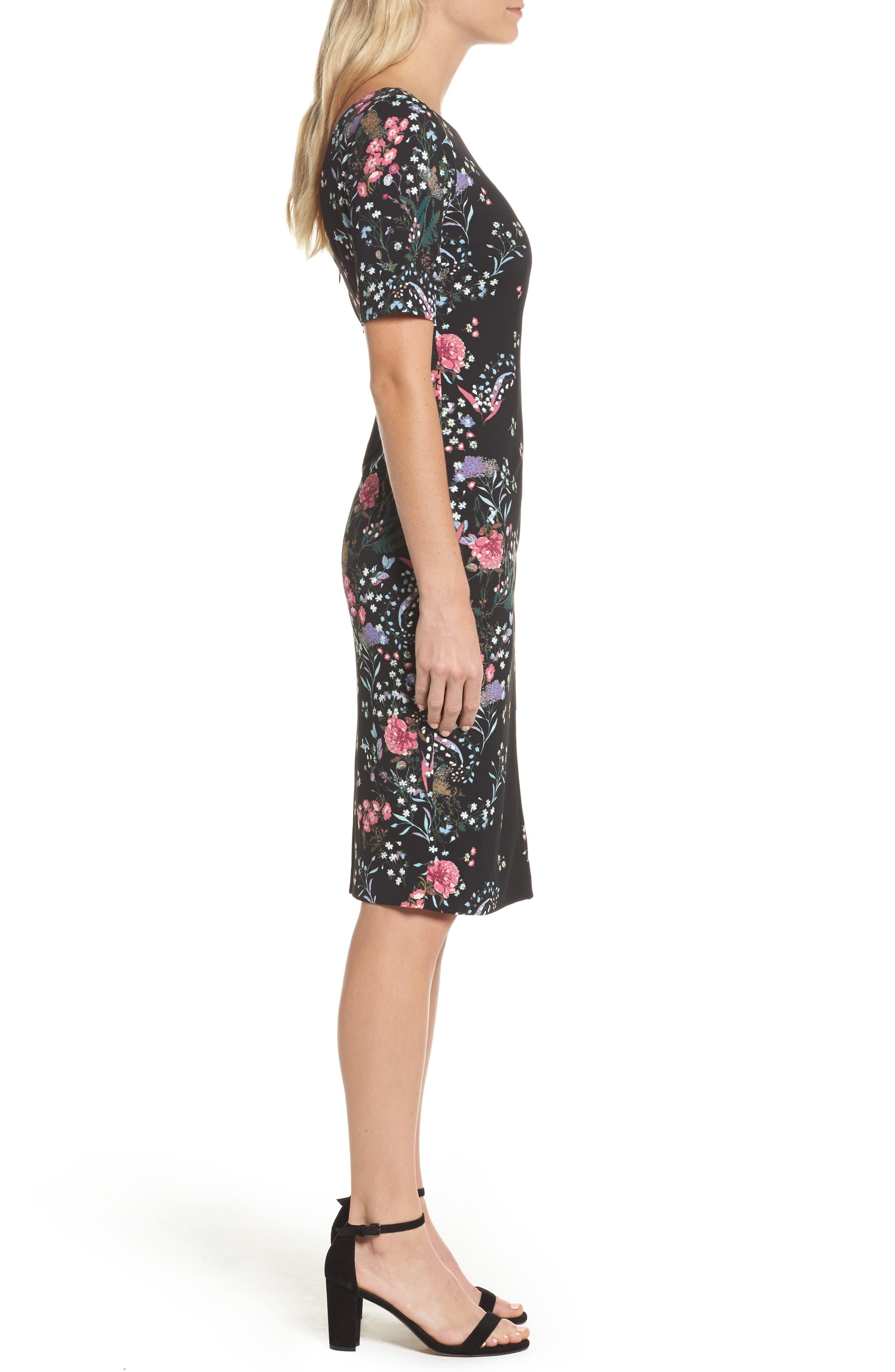 Print Sheath Dress,                             Alternate thumbnail 3, color,                             003