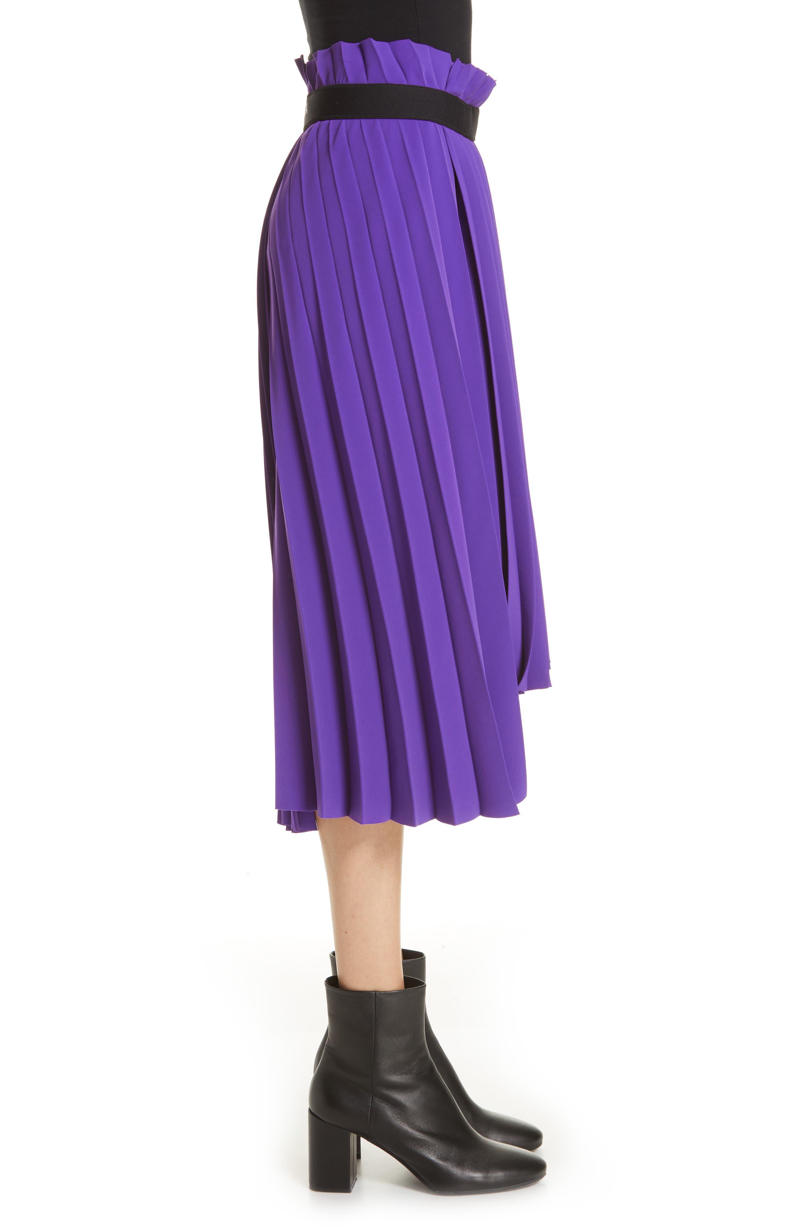 Fancy Asymmetrical Pleated Crepe Skirt,                             Alternate thumbnail 3, color,                             ULTRAVIOLET