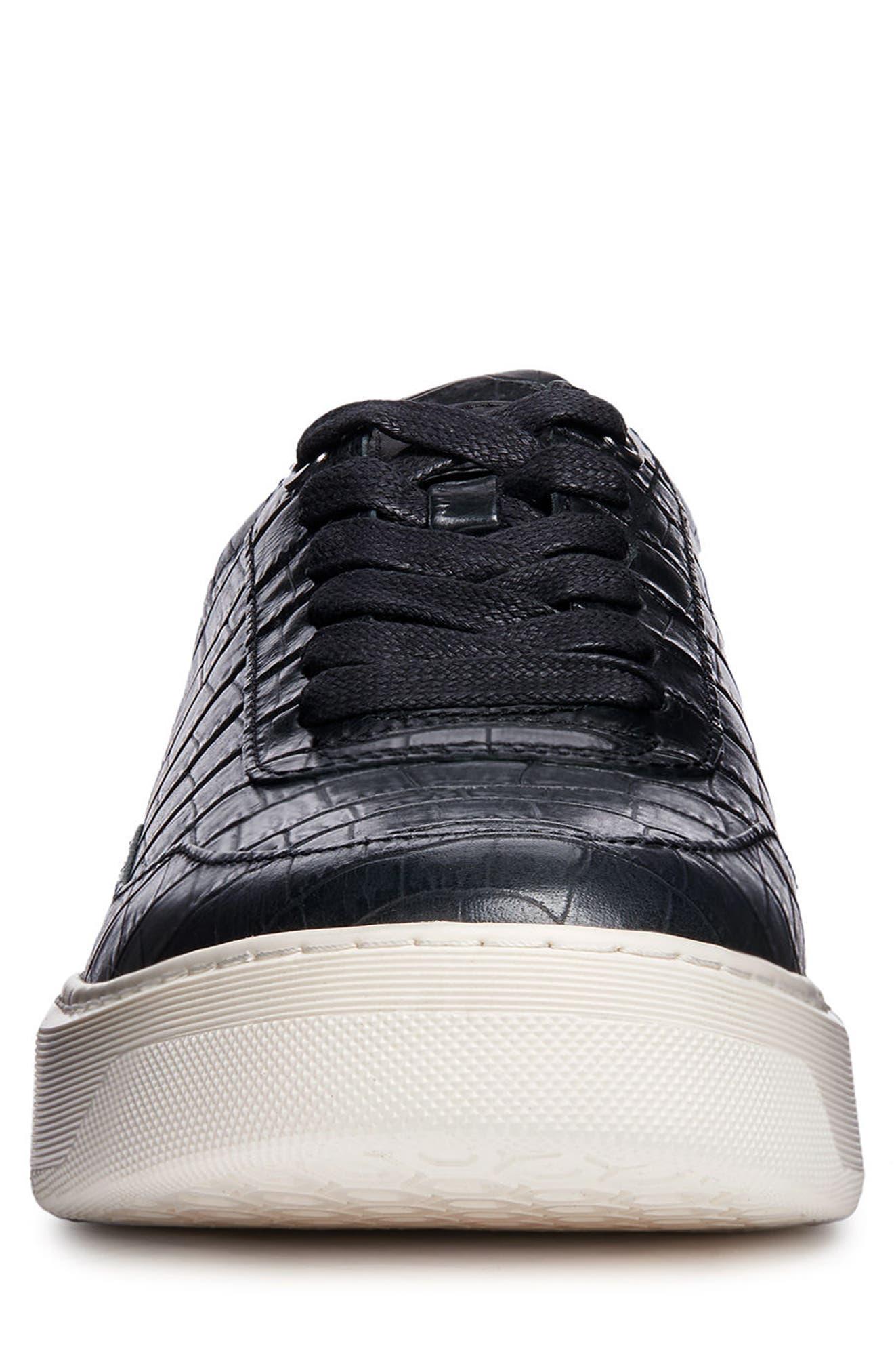 Deiven 8 Croc Textured Low Top Sneaker,                             Alternate thumbnail 4, color,                             BLACK LEATHER