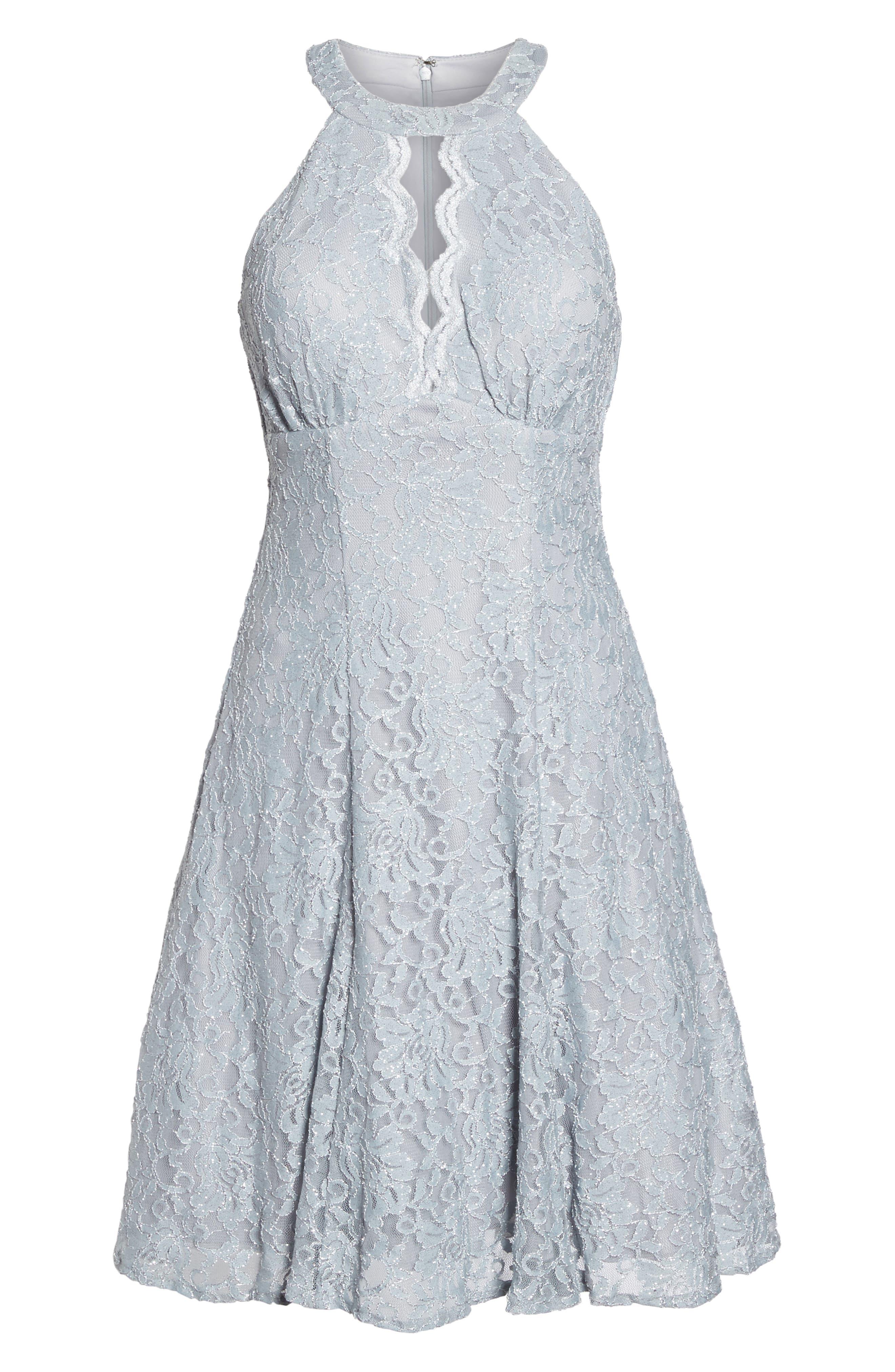 Lace Halter Neck Dress,                             Alternate thumbnail 6, color,