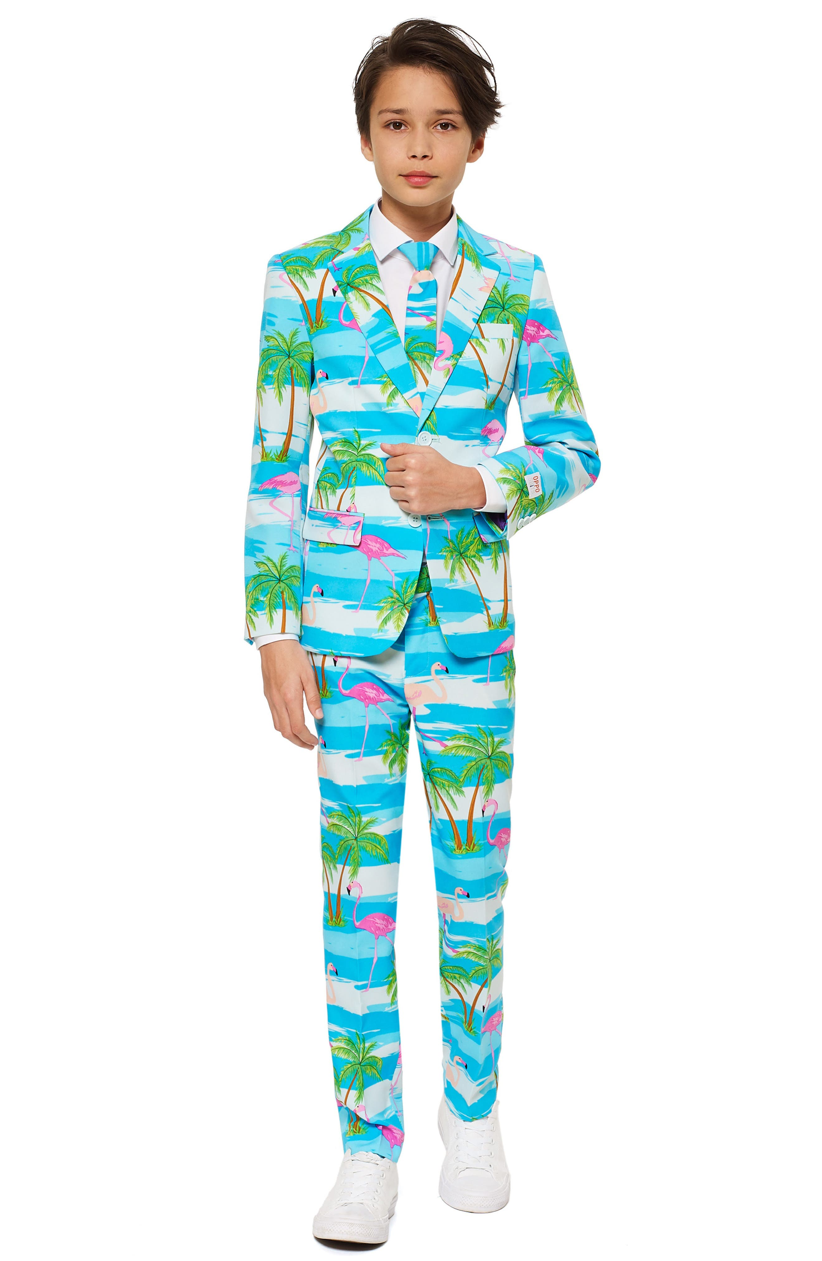 Flaminguy Two-Piece Suit with Tie,                             Main thumbnail 1, color,                             BLUE/ GREEN