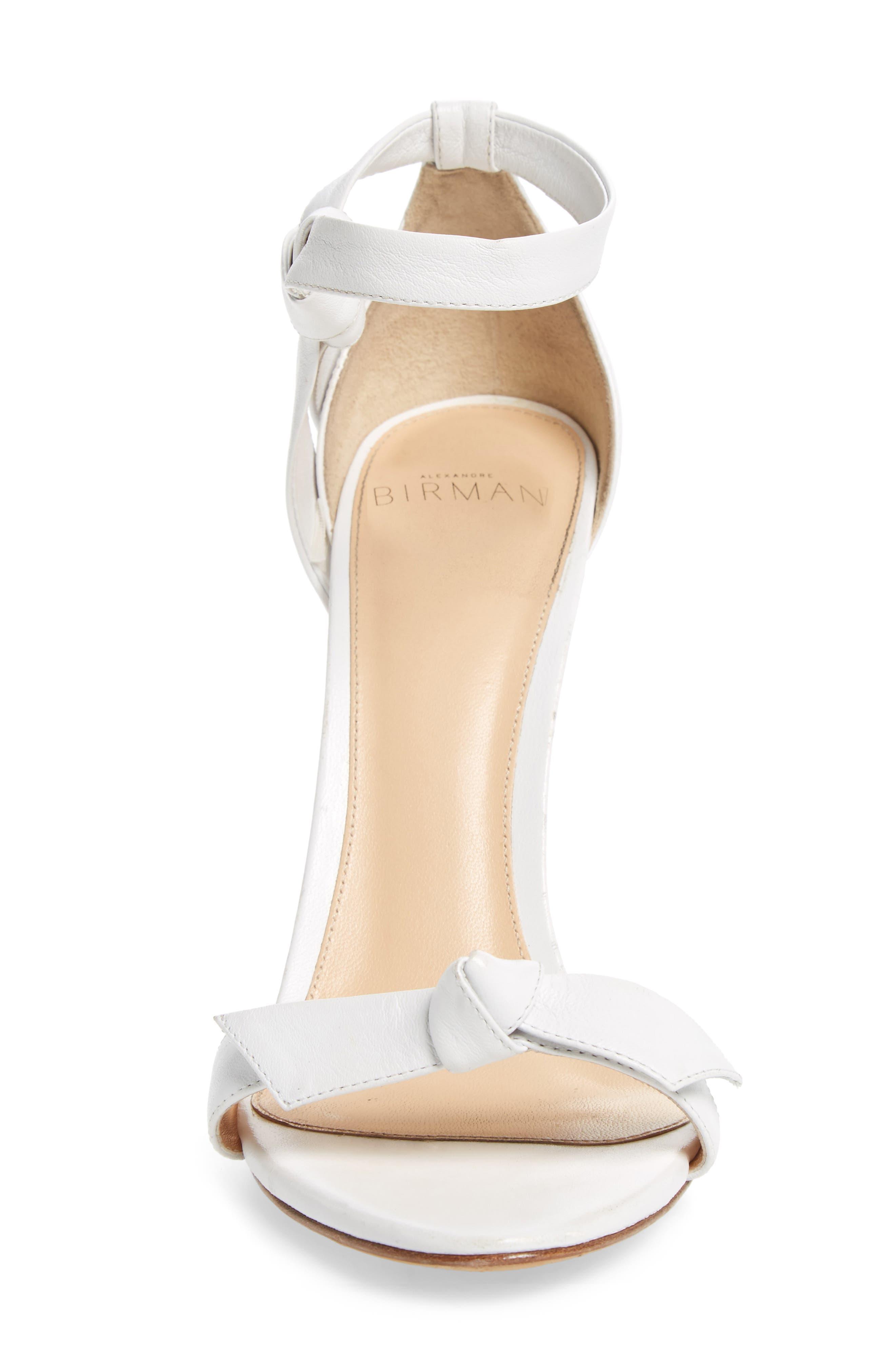 'Clarita' Ankle Tie Sandal,                             Alternate thumbnail 4, color,                             WHITE LEATHER