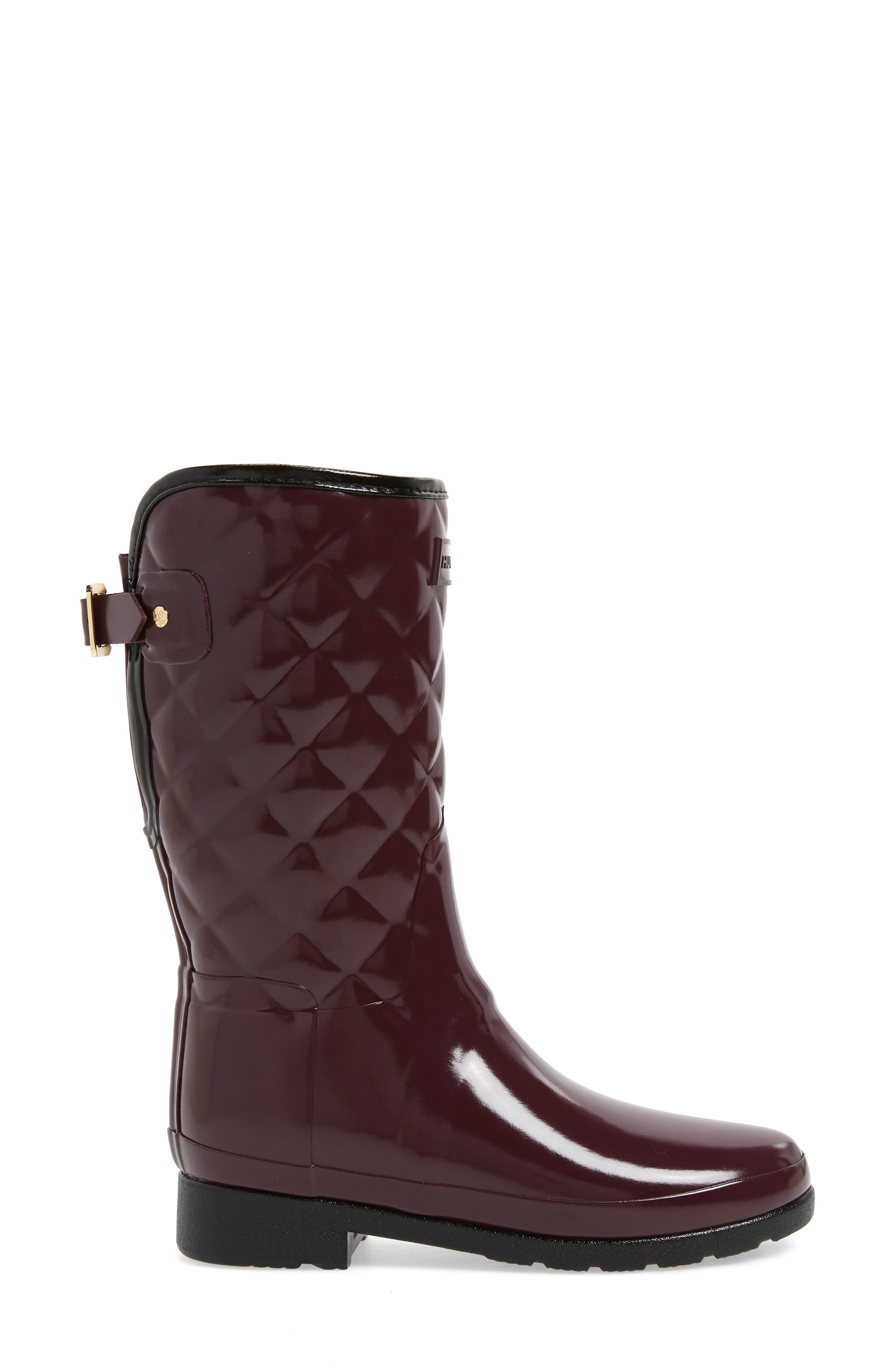Refined High Gloss Quilted Short Waterproof Rain Boot,                             Alternate thumbnail 3, color,                             OXBLOOD