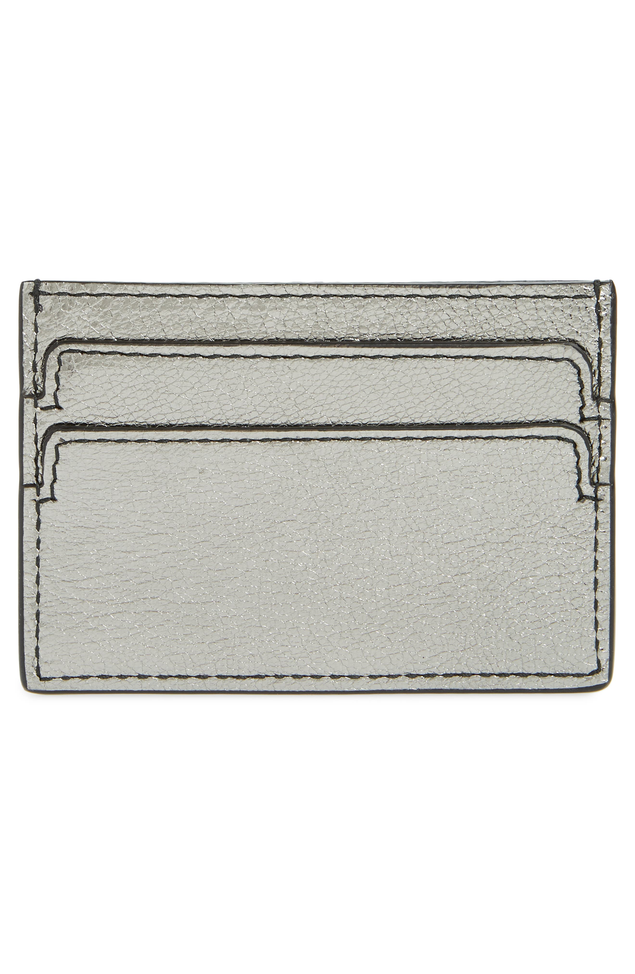 Metallic Leather Card Holder,                             Alternate thumbnail 2, color,                             GUN METAL