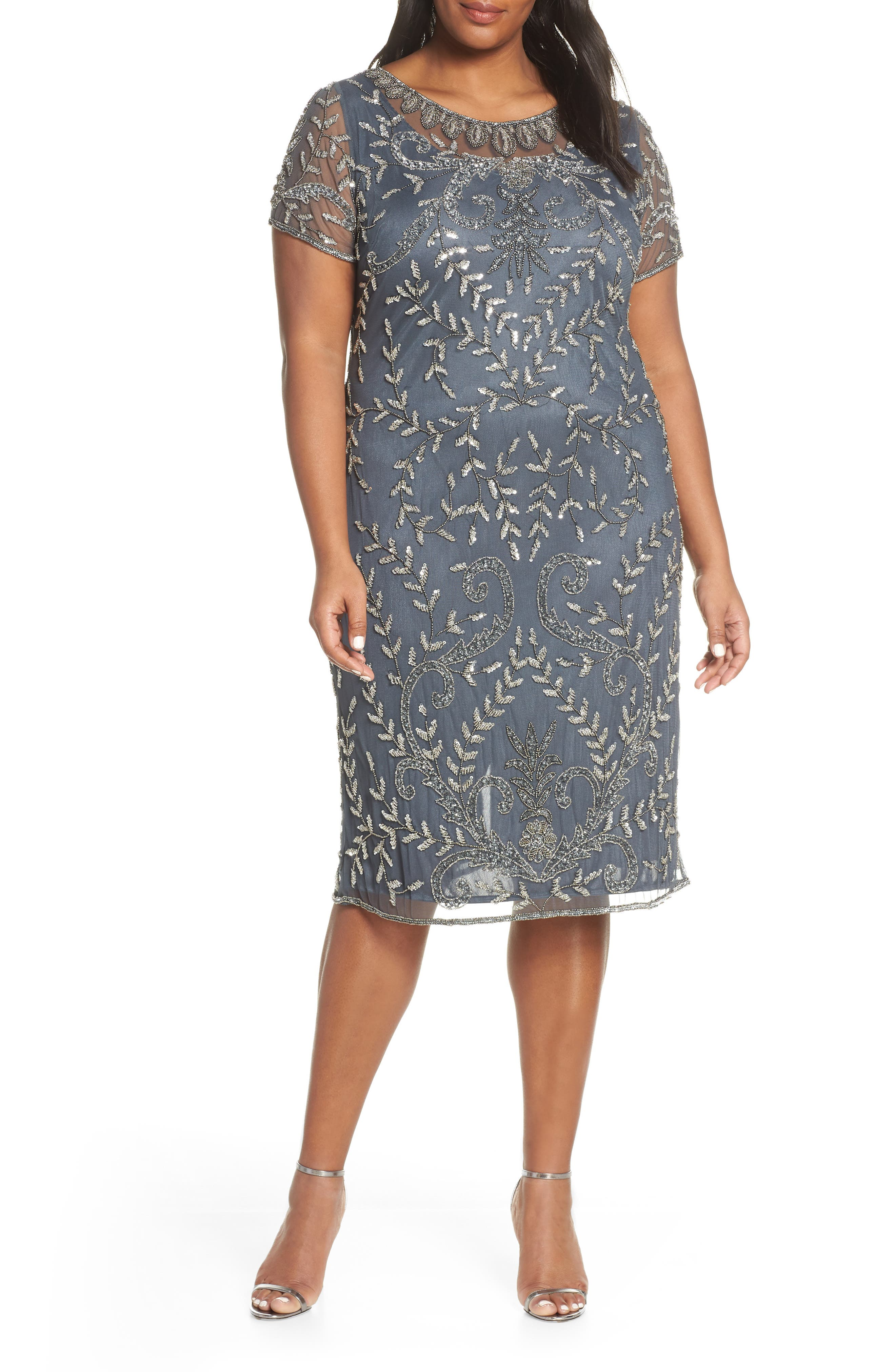 9a6e8e1e61b Plus Size Pisarro Nights Beaded Cocktail Dress