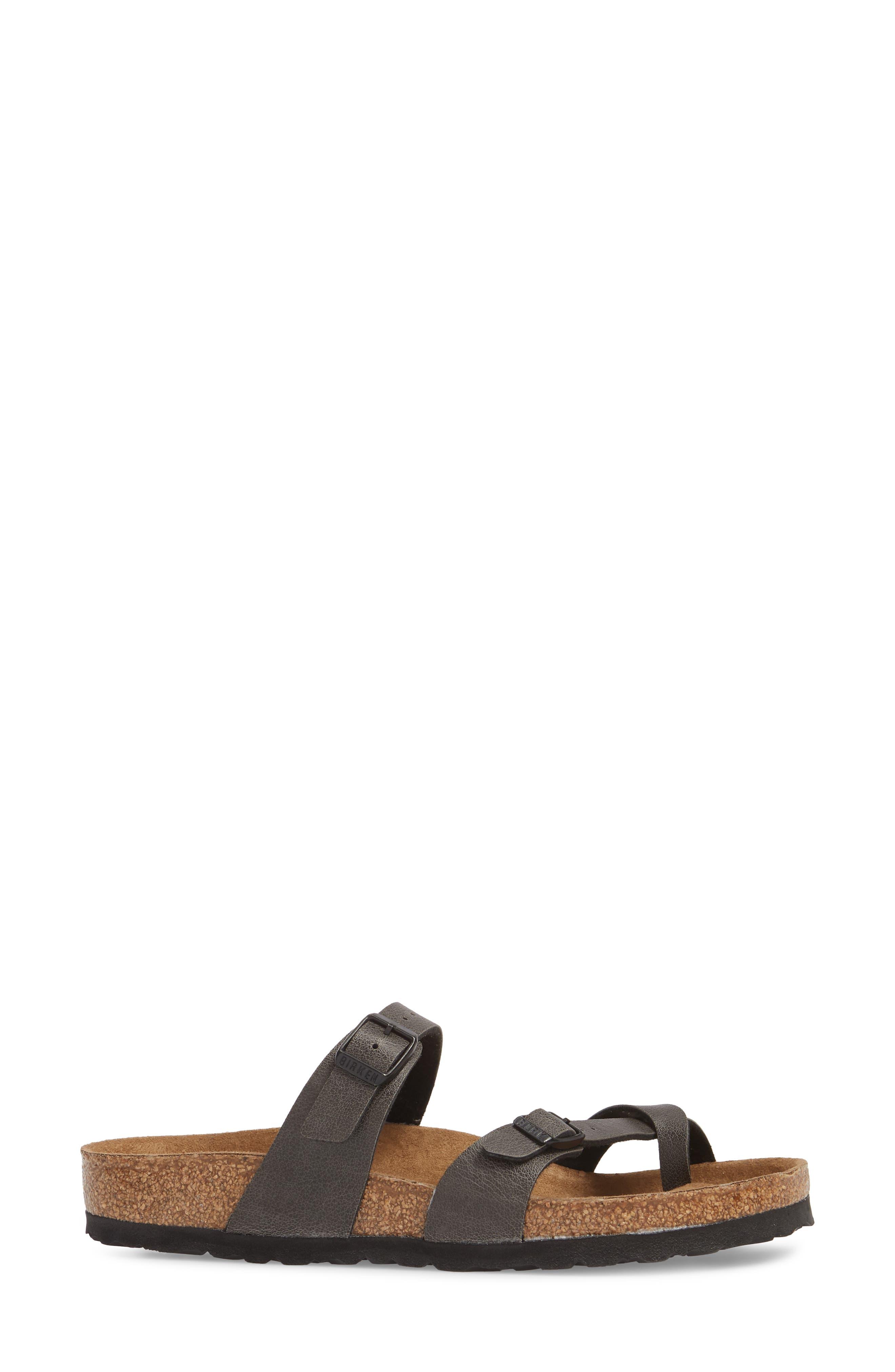 Mayari Birko-Flor<sup>™</sup> Slide Sandal,                             Alternate thumbnail 3, color,                             ANTHRACITE LEATHER