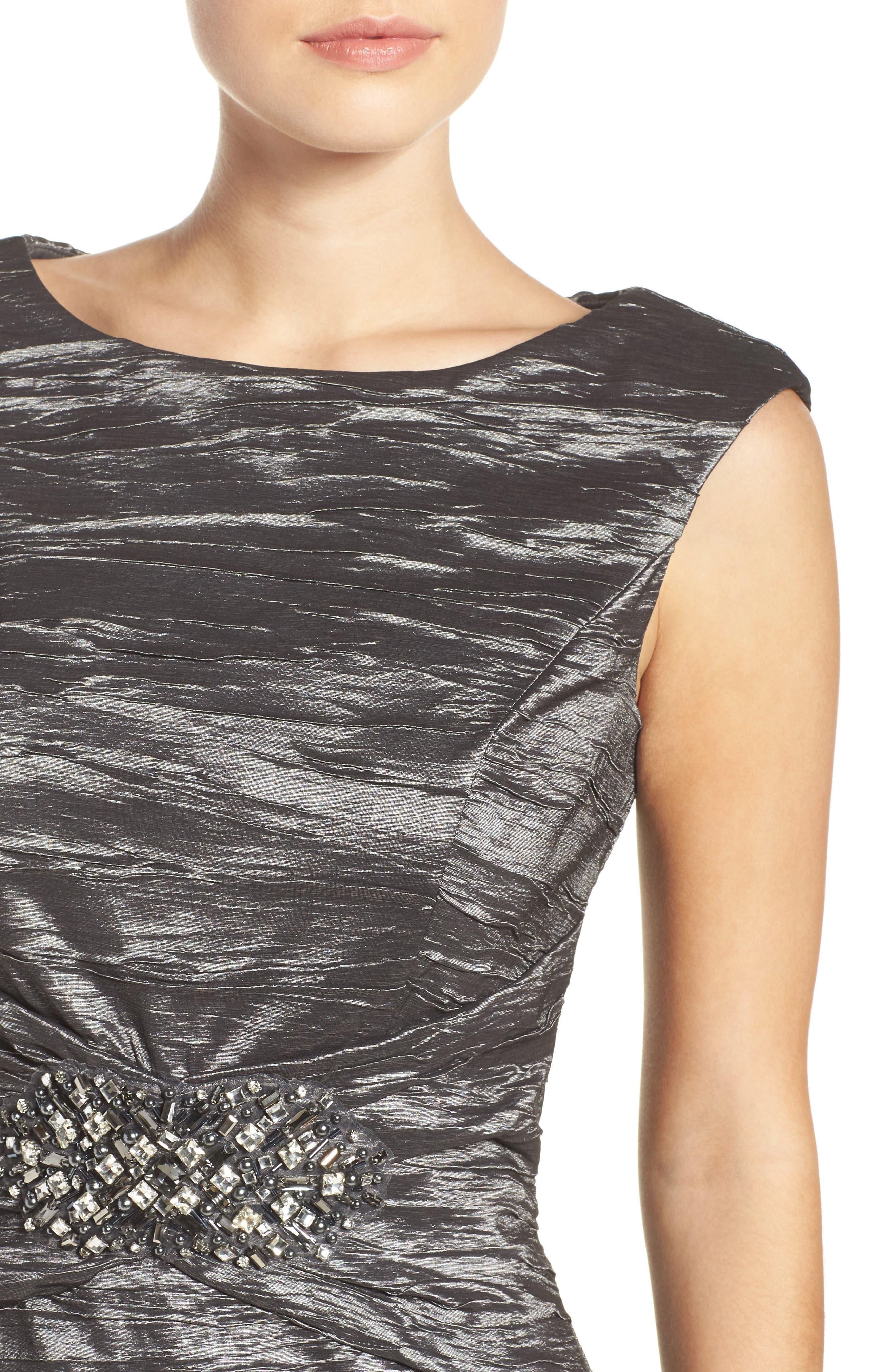 Embellished Taffeta Sheath Dress,                             Alternate thumbnail 4, color,                             043