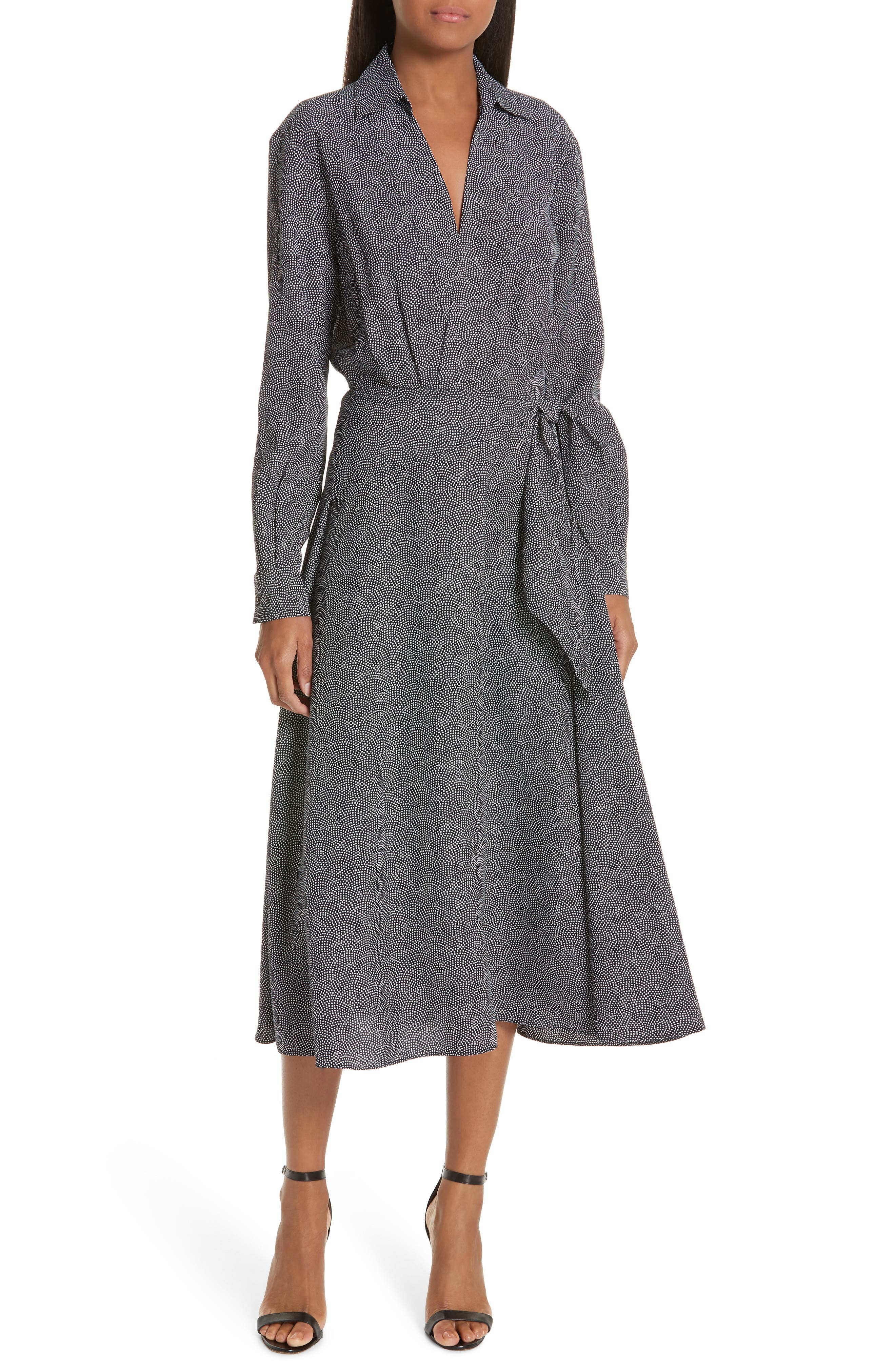 Equipment Vivienne Faux Wrap Midi Dress, Grey