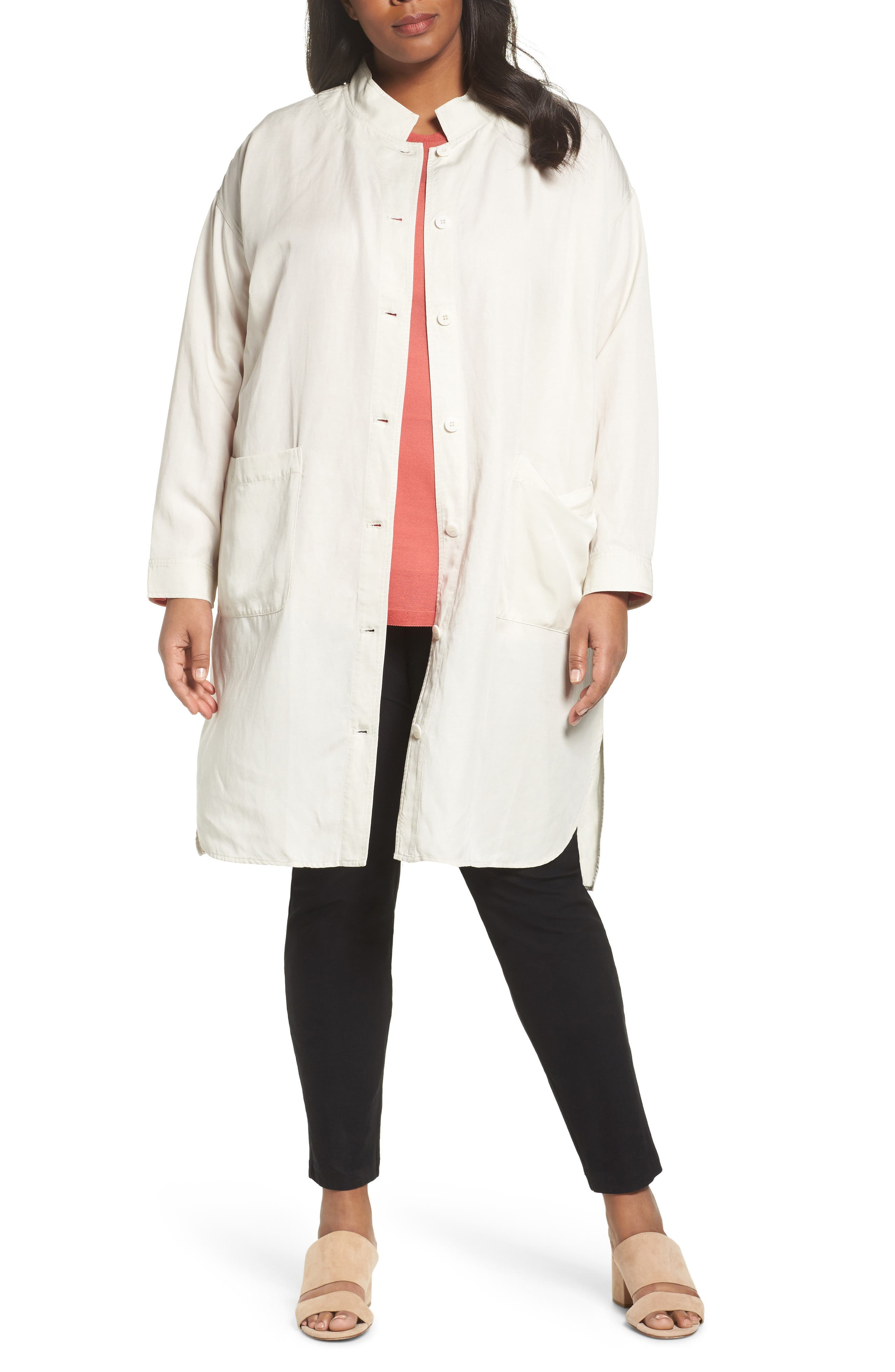 Long Tencel<sup>®</sup> Lyocell & Linen Jacket,                             Main thumbnail 2, color,