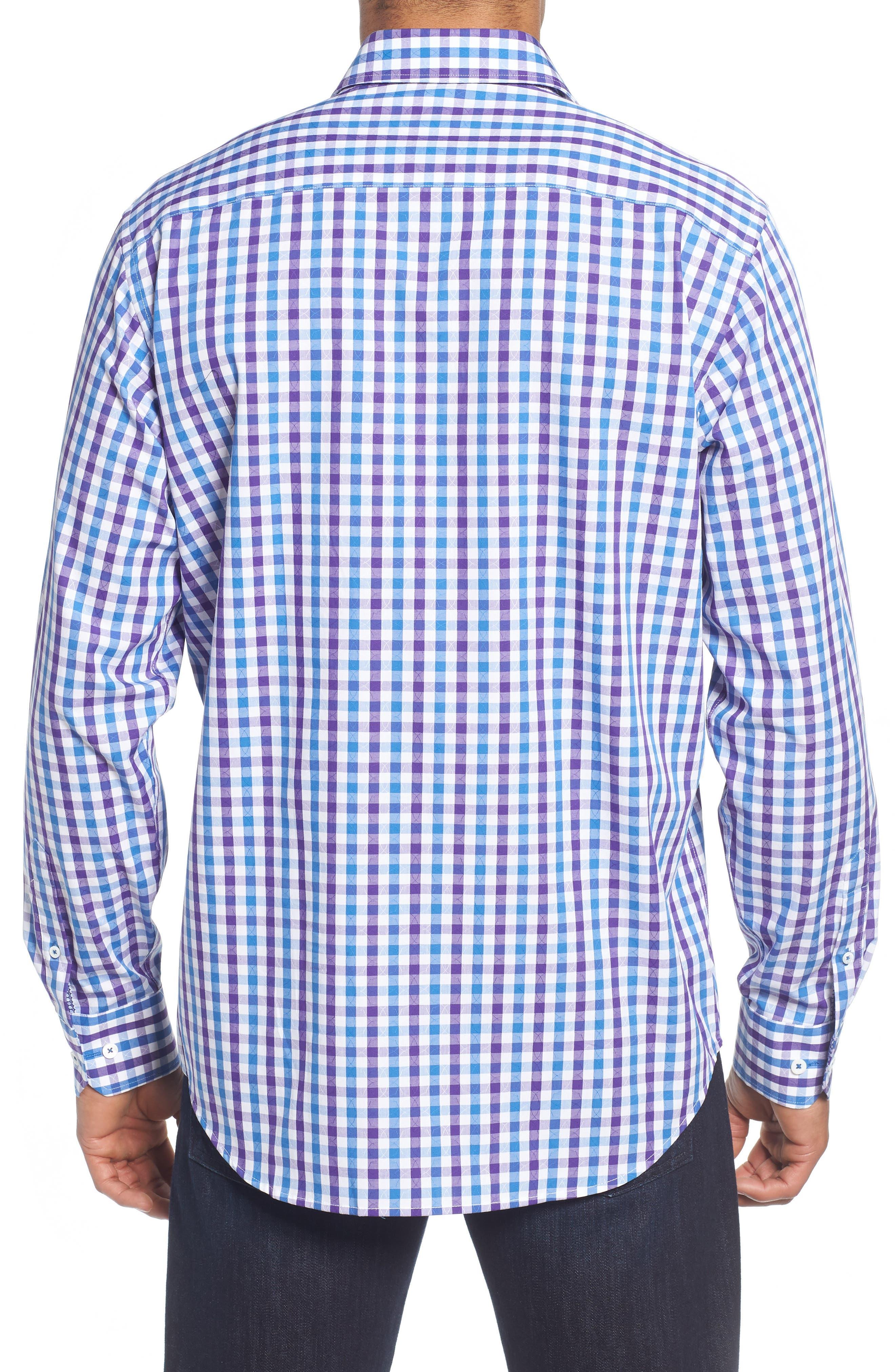 Classic Fit Jacquard Check Sport Shirt,                             Alternate thumbnail 2, color,