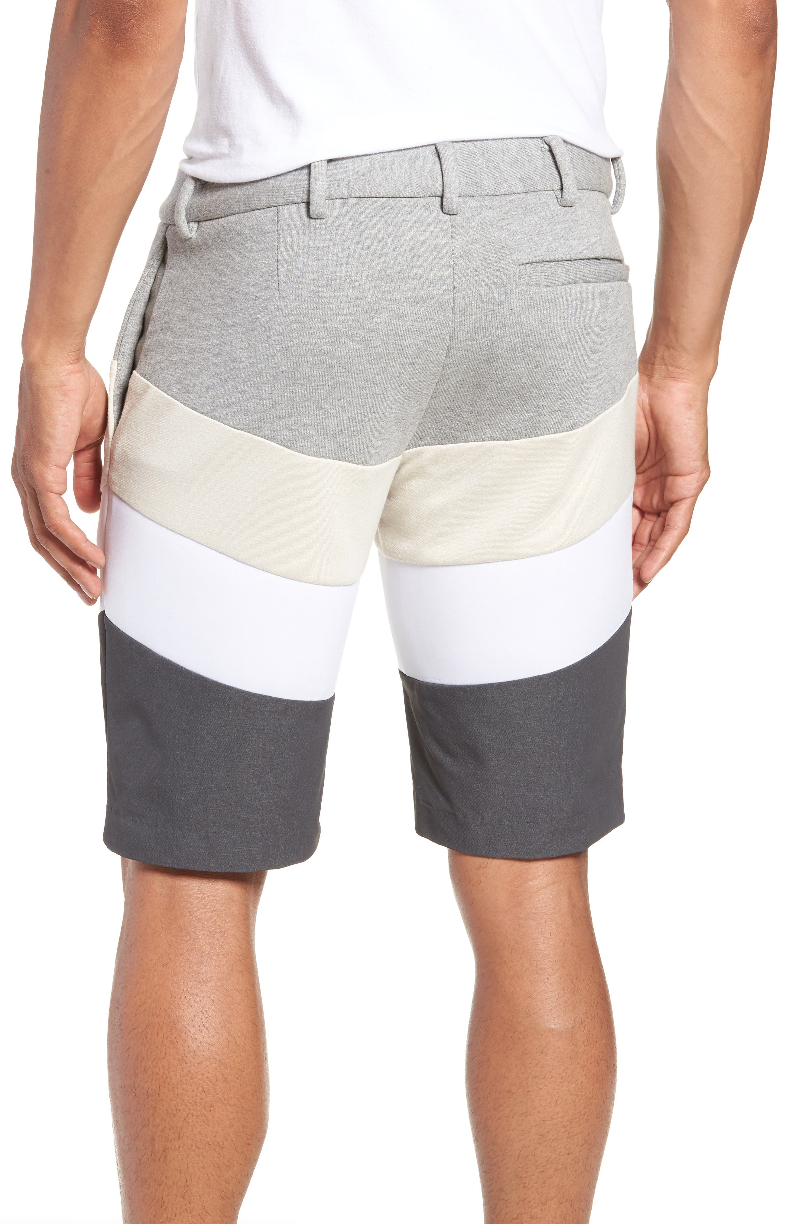Chevron Colorblock Shorts,                             Alternate thumbnail 2, color,                             HEATHER GREY