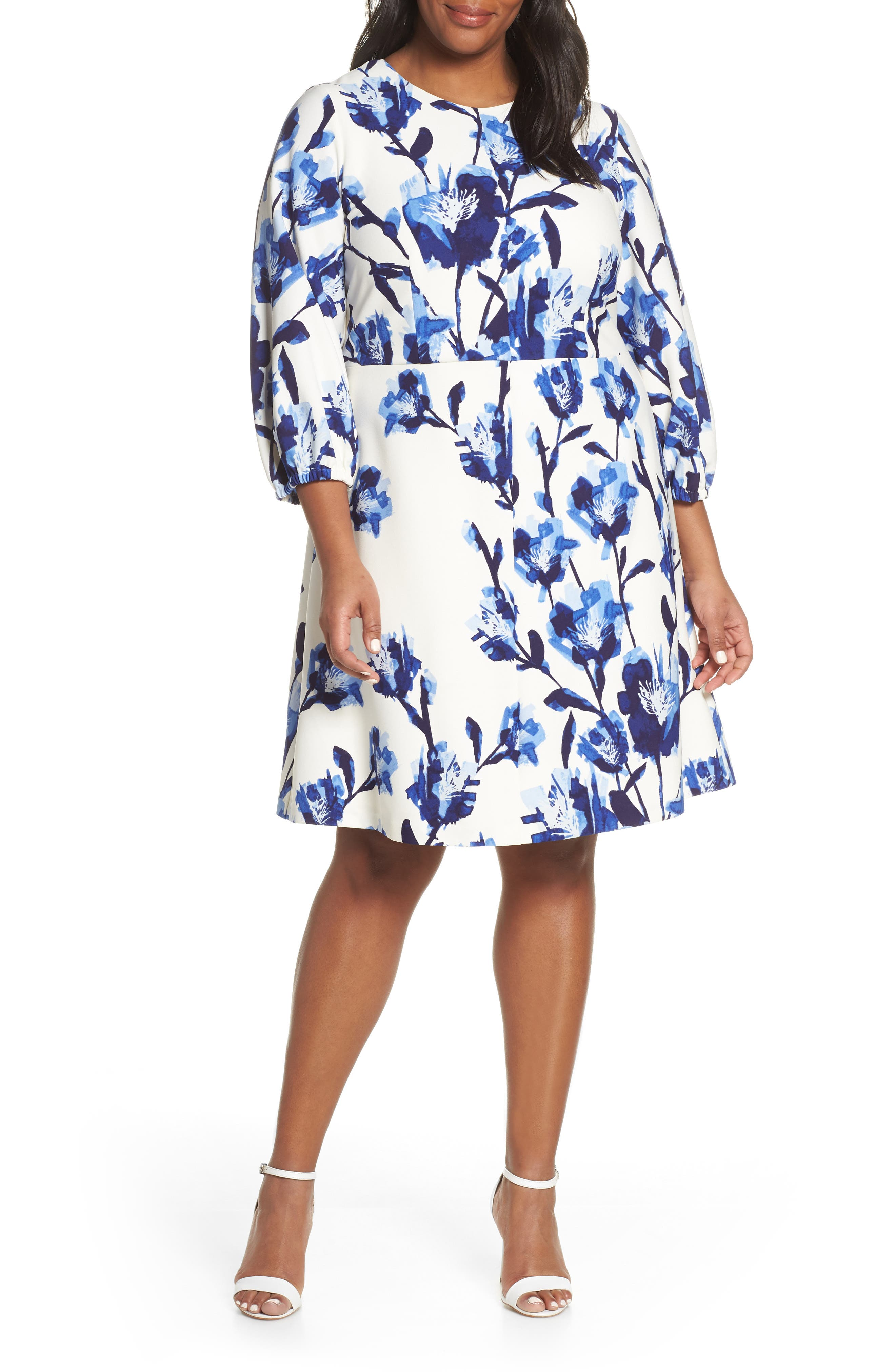 Plus Size Eliza J Scuba Crepe Fit & Flare Dress, Ivory