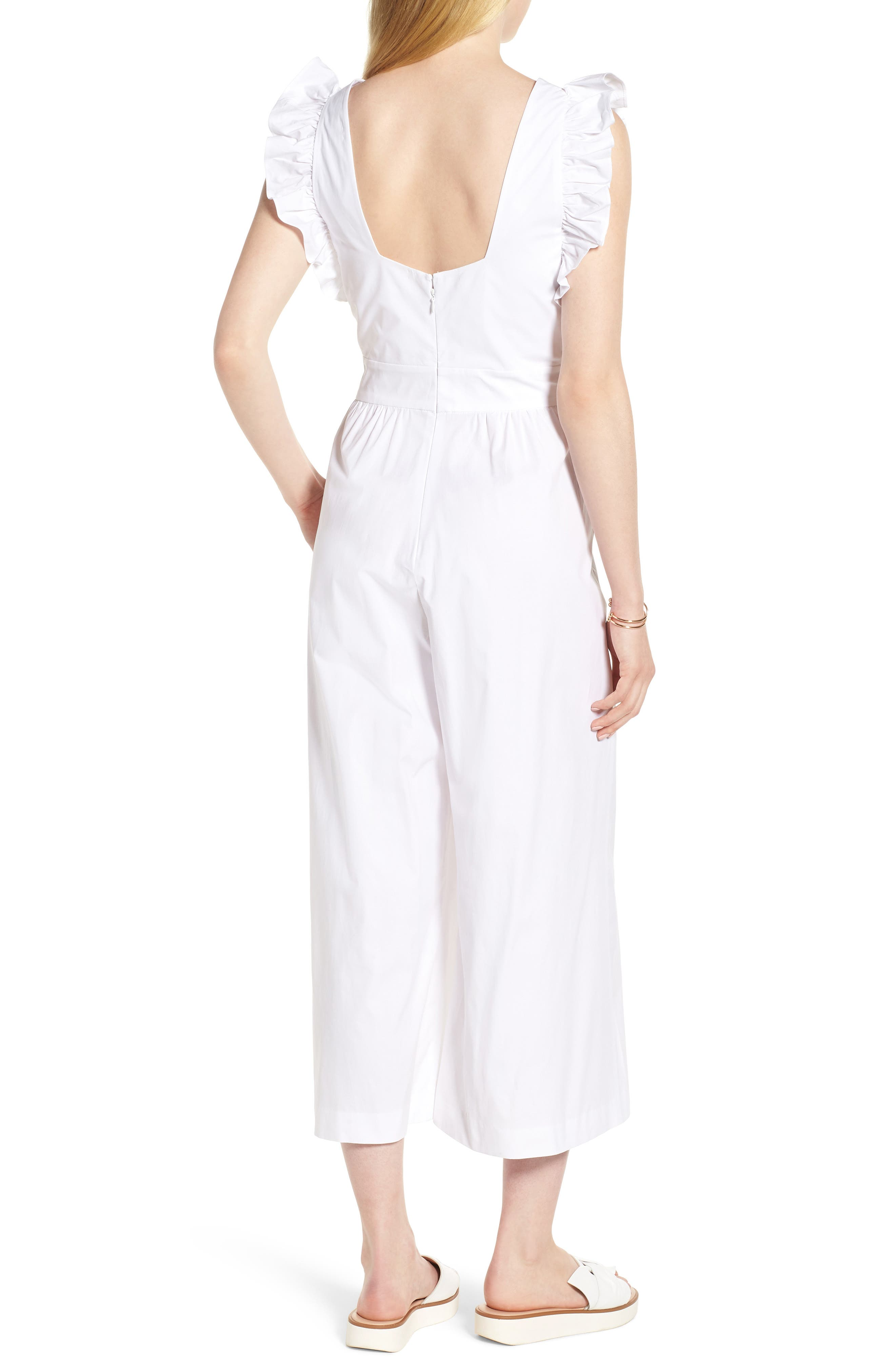 Ruffle Sleeve Crop Jumpsuit,                             Alternate thumbnail 2, color,                             100